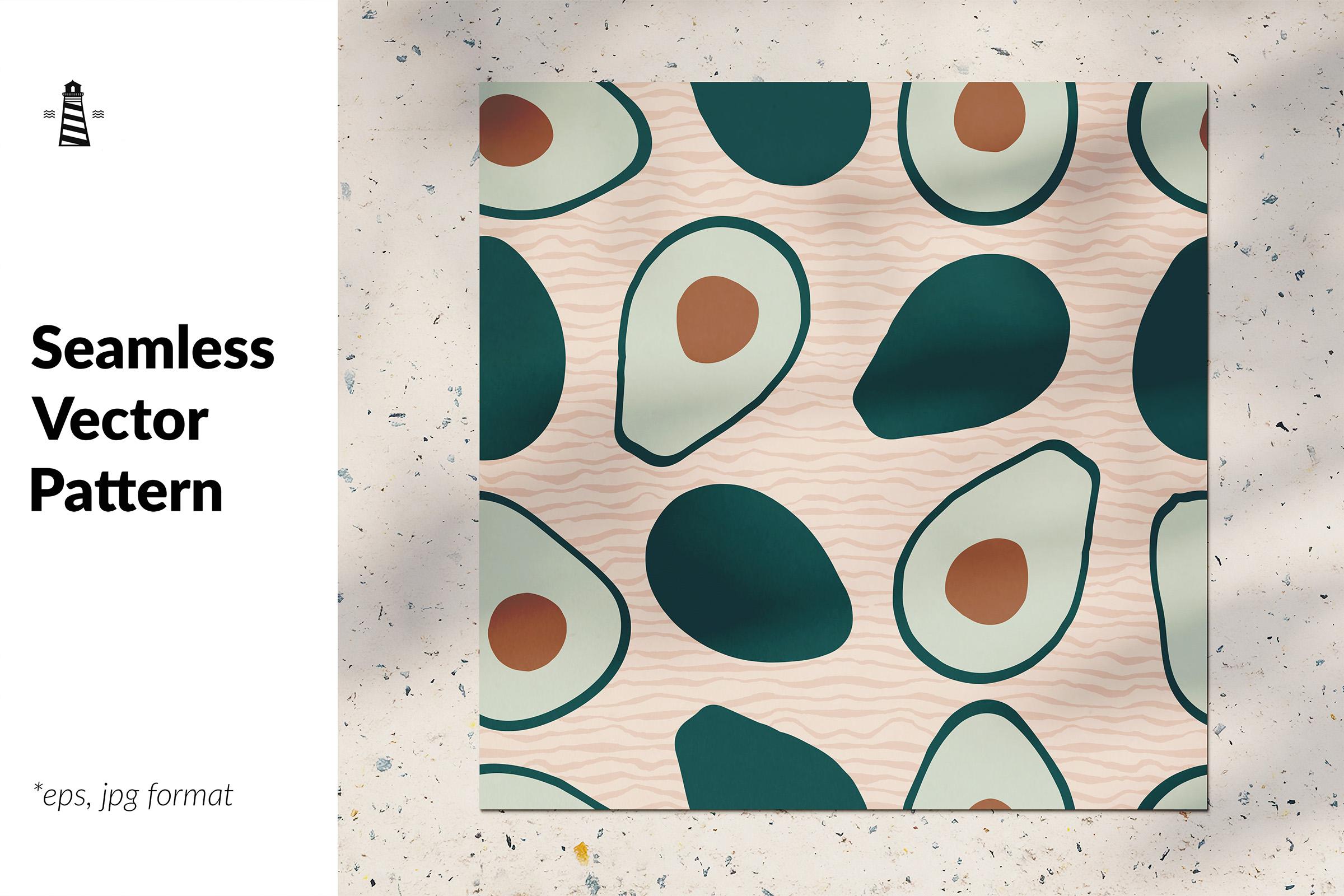 Avocado seamless pattern example image 1