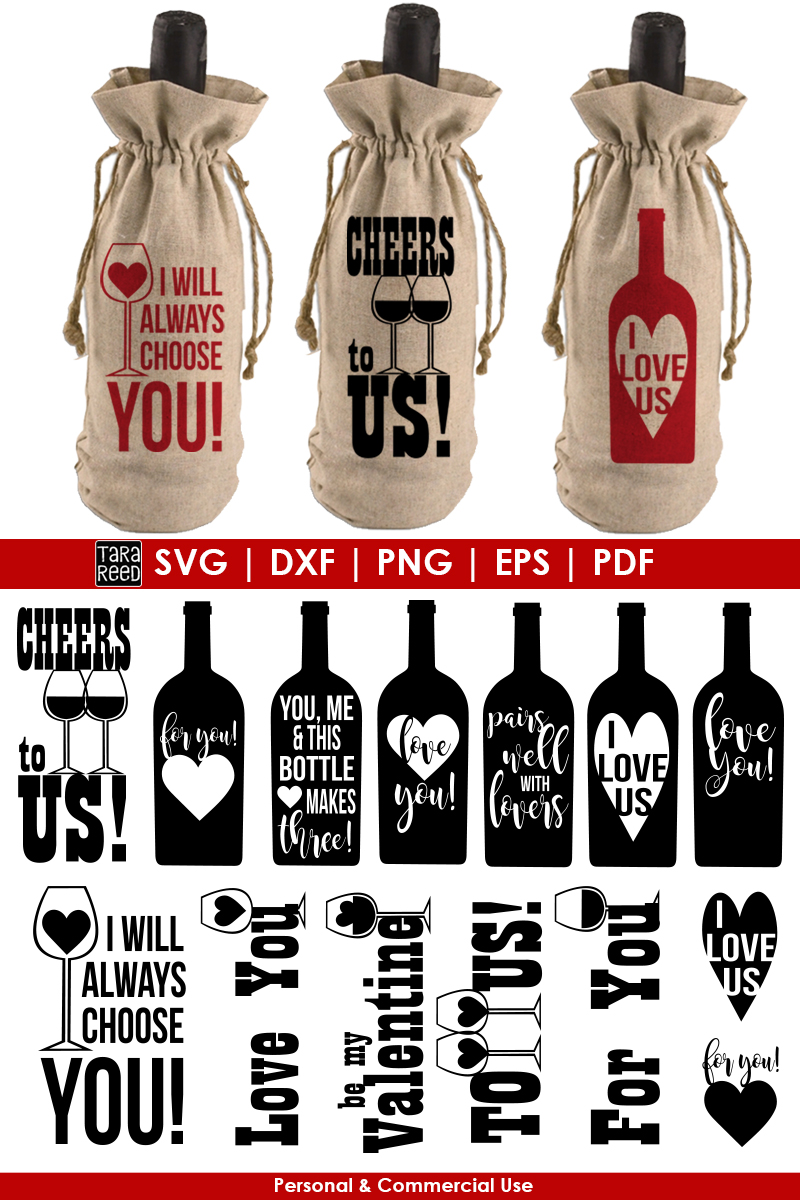 Valentines Day Wine Bags Bundle example image 3