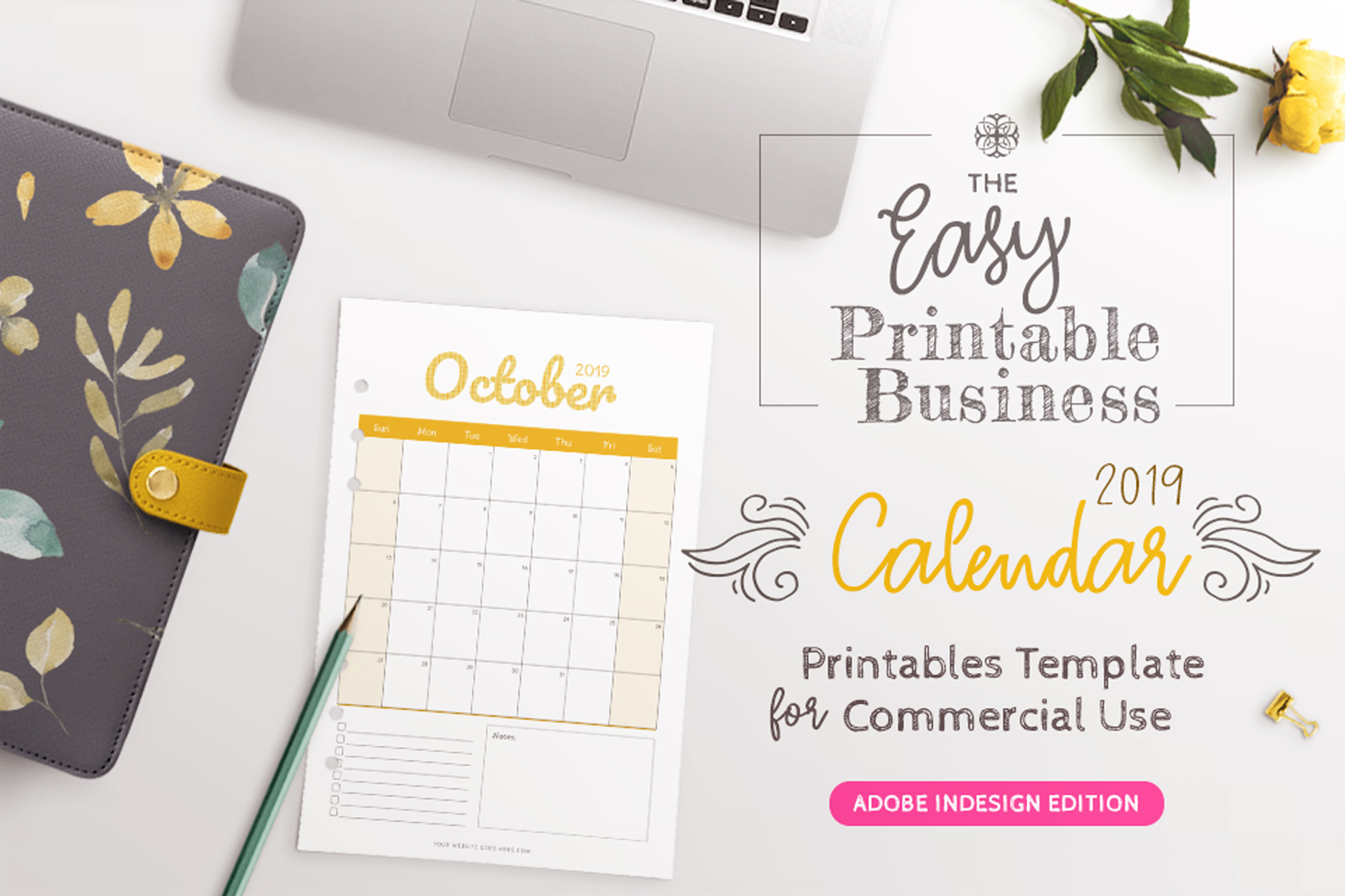 2019 Calendar InDesign Template for Commercial Use example image 2