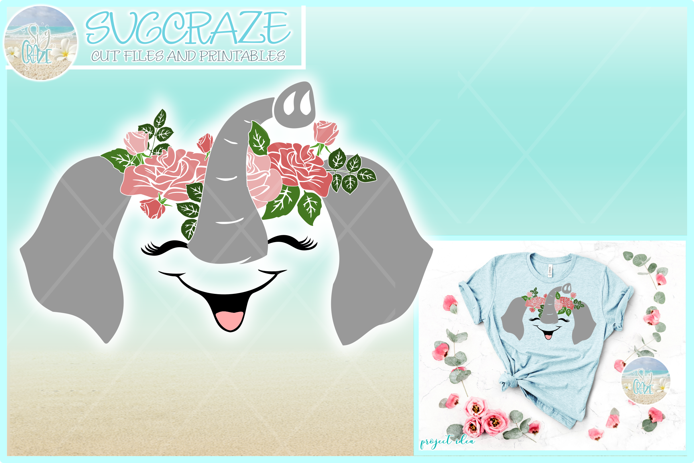 Elephant Face with Roses Svg Dxf Eps Png Pdf Files example image 1