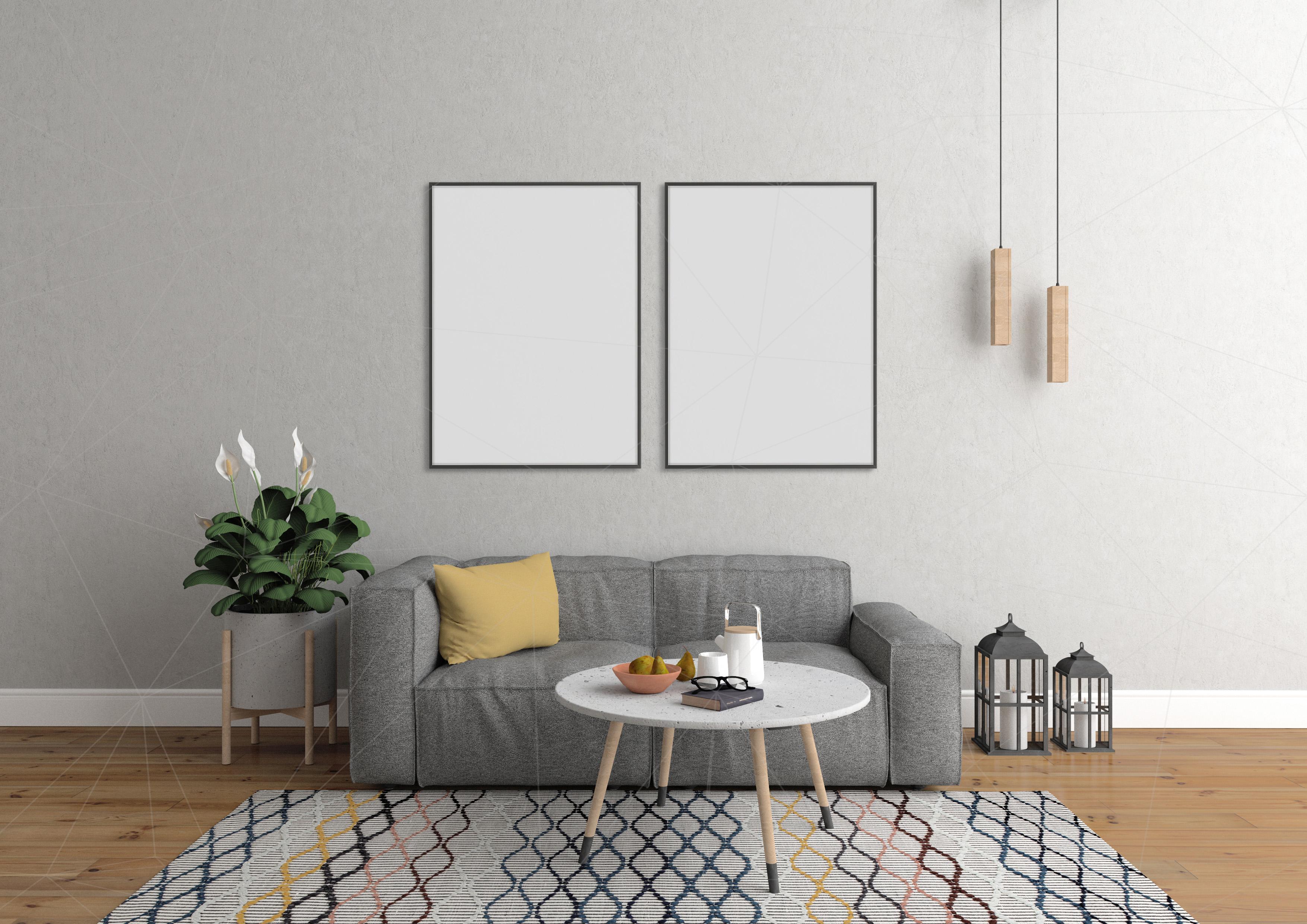 Interior mockup bundle - blank wall mock up example image 4