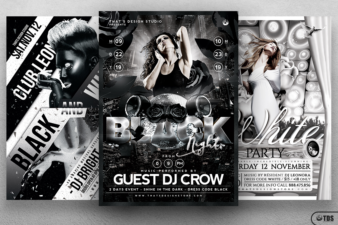Black and White Party Flyer Bundle example image 3