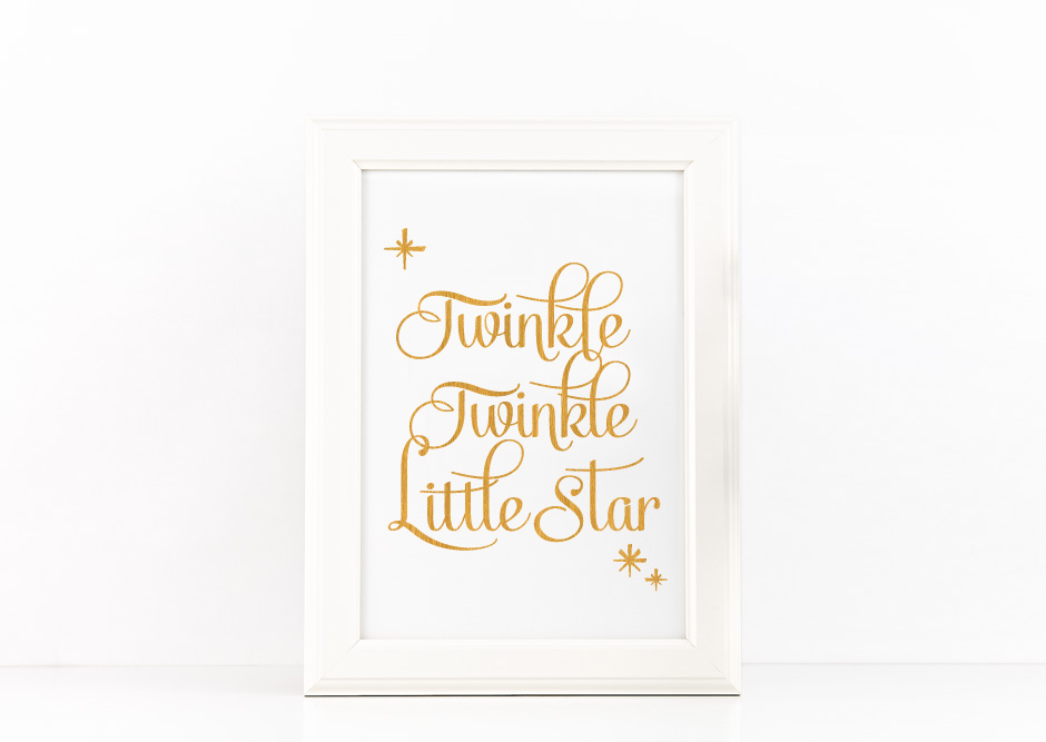 Twinkle Twinkle Little Star Quote Printable Poster Romantic Quote in Gold + SVG files example image 2