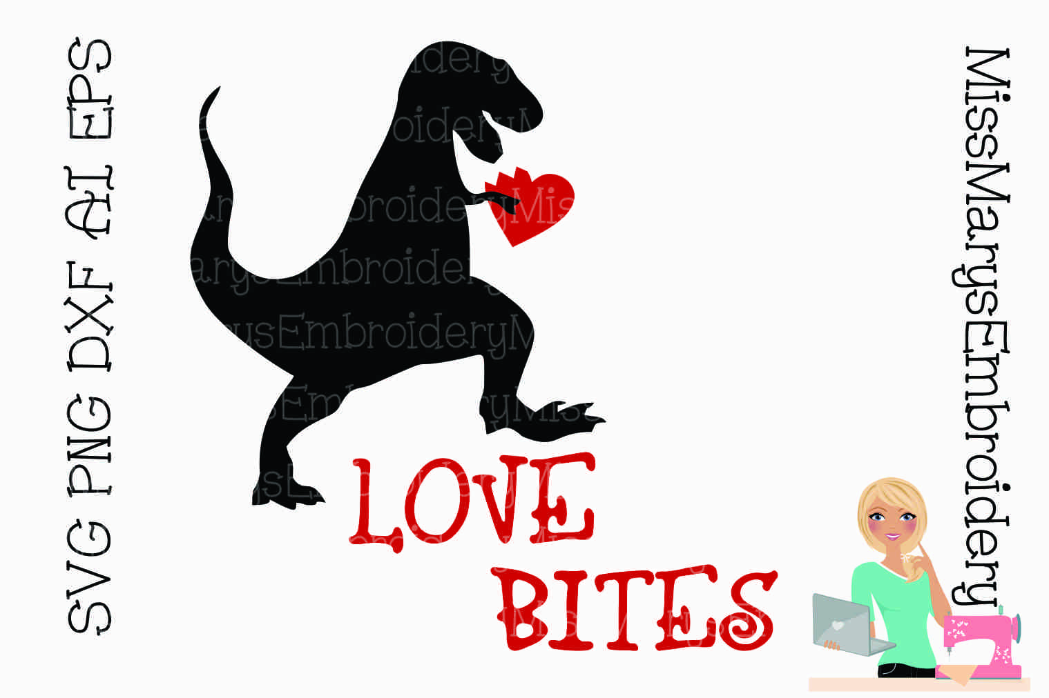 Love Bites T-Rex SVG Cutting File PNG DXF AI EPS example image 1