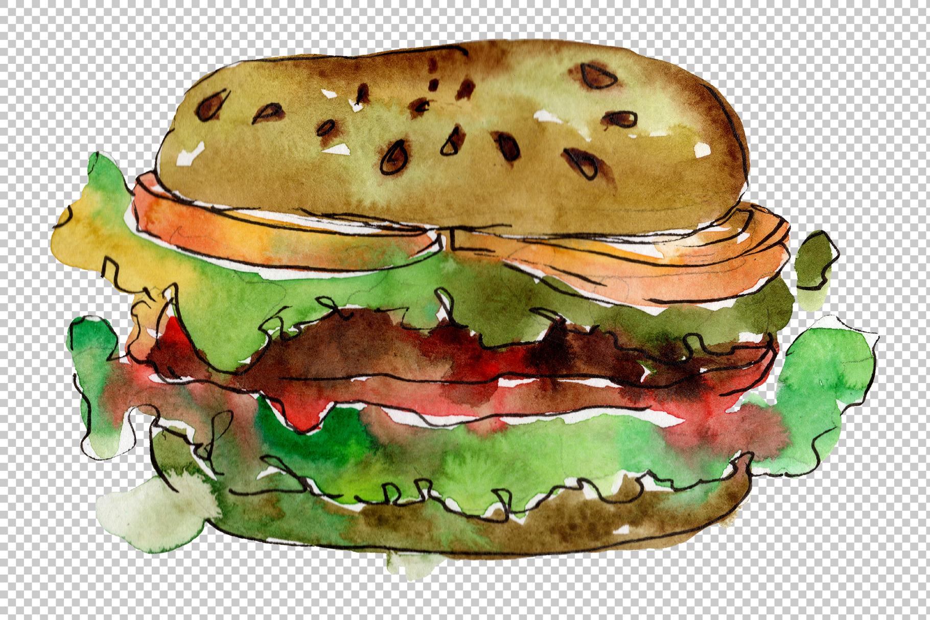 European Hamburger Watercolor png example image 6