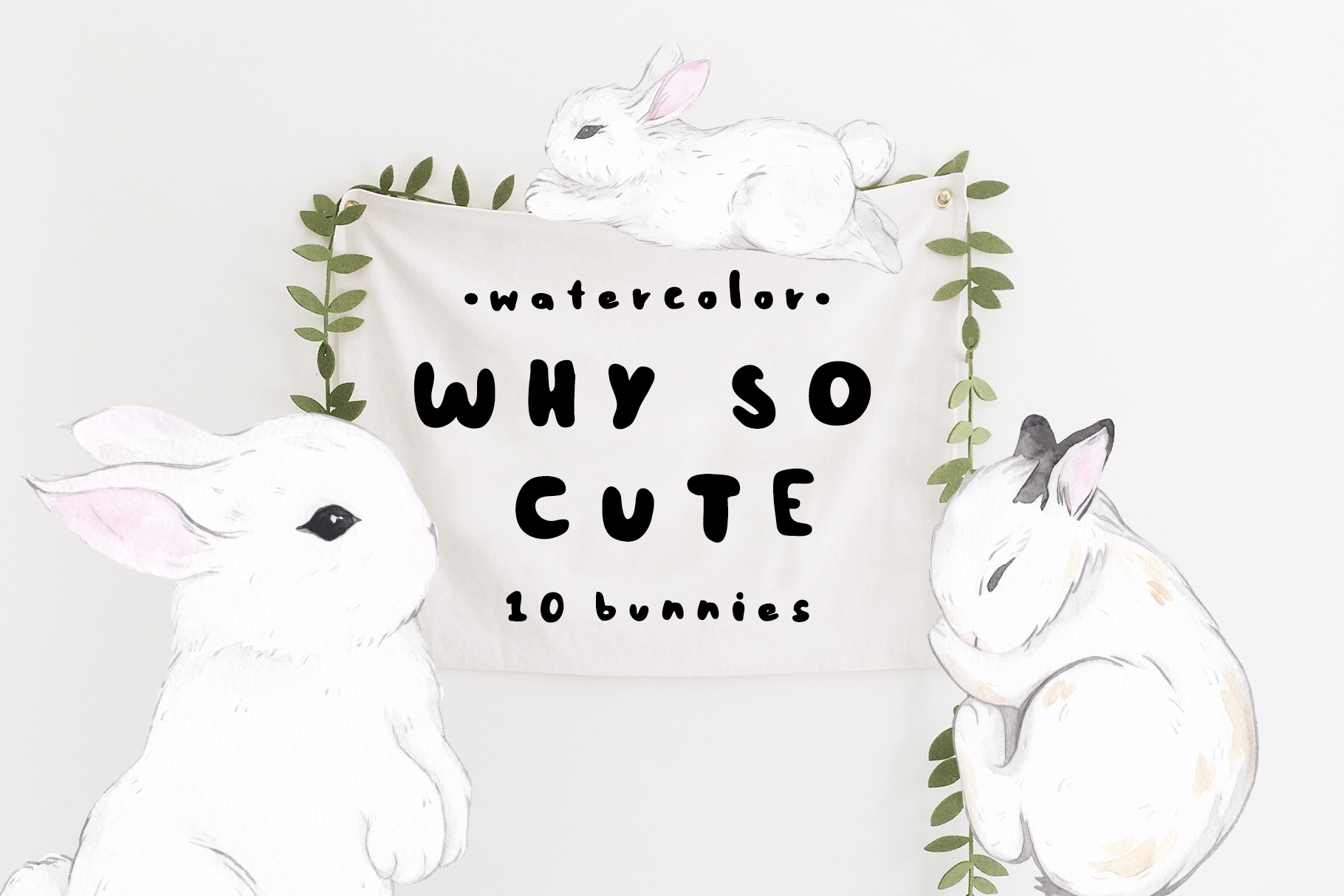 WHY SO CUTE 10 Easter watercolor bunnies example image 1