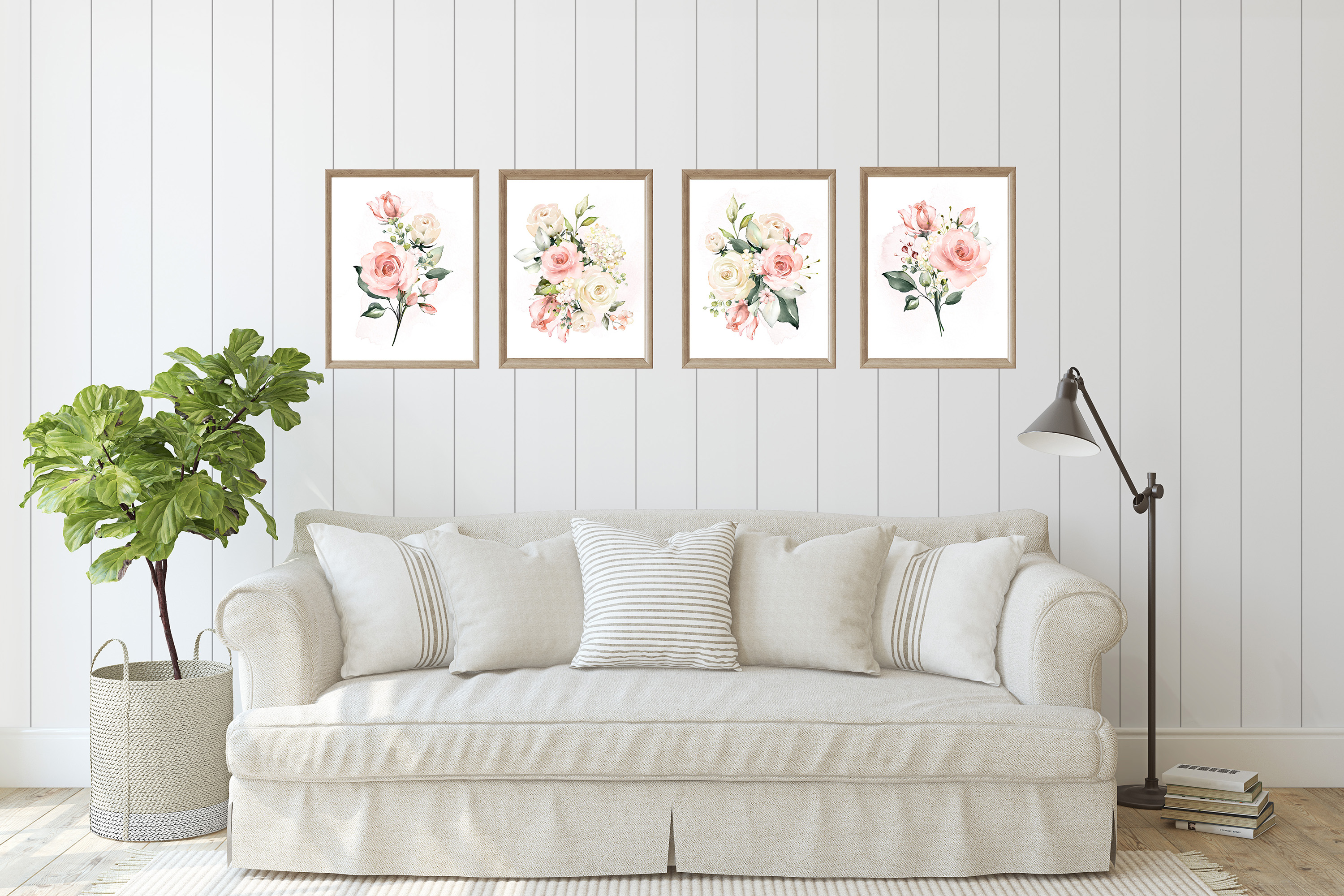 Watercolor Roses and Greenery Print Set of 4 Prints example image 3