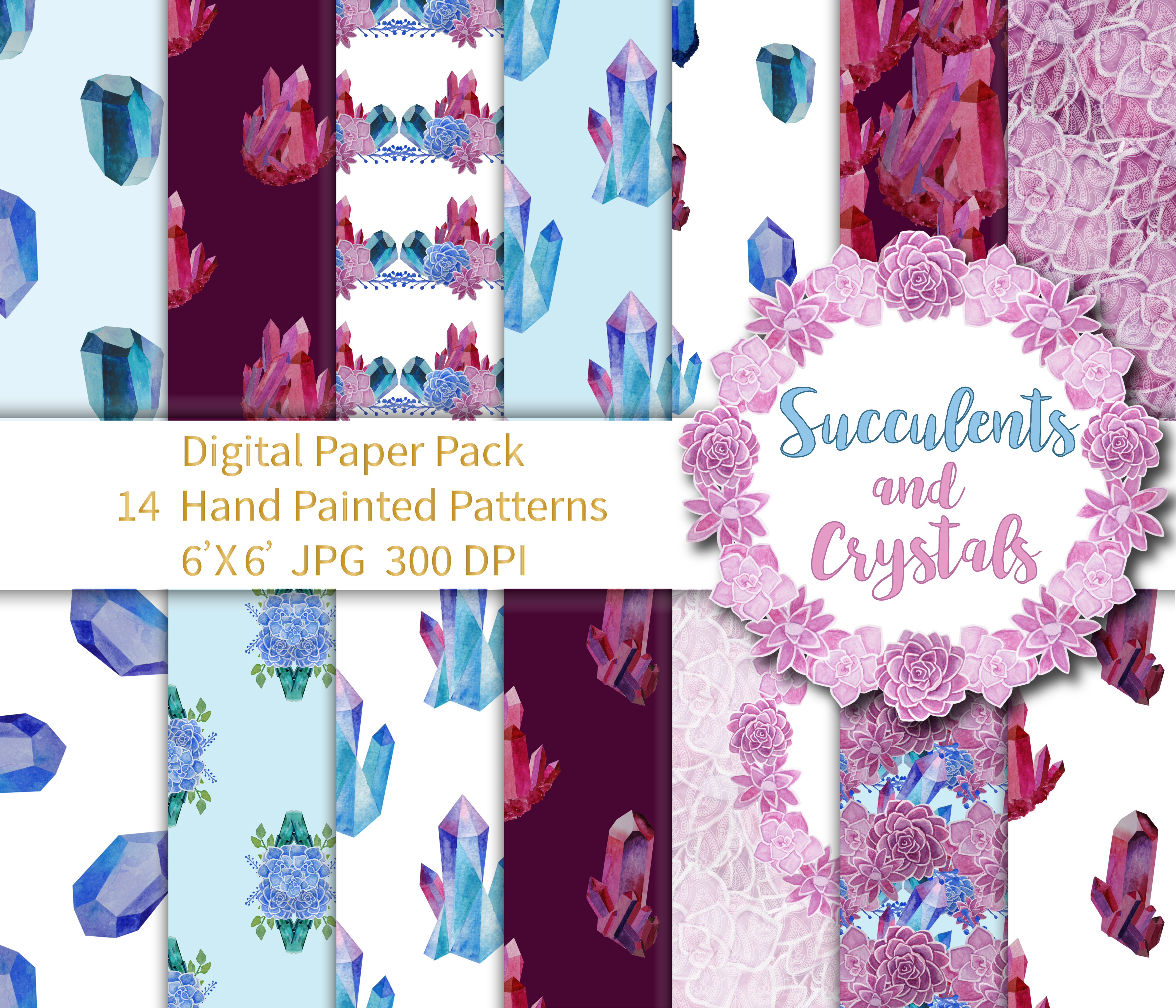 Succulents and Crystals Paper Pack example image 1