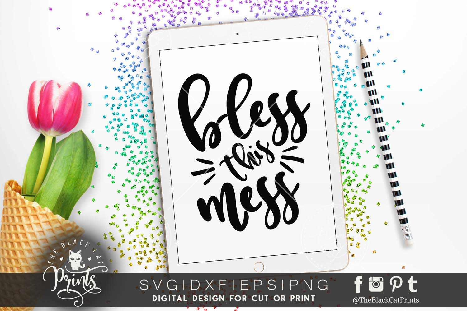 Bless this mess SVG PNG EPS DXF example image 5