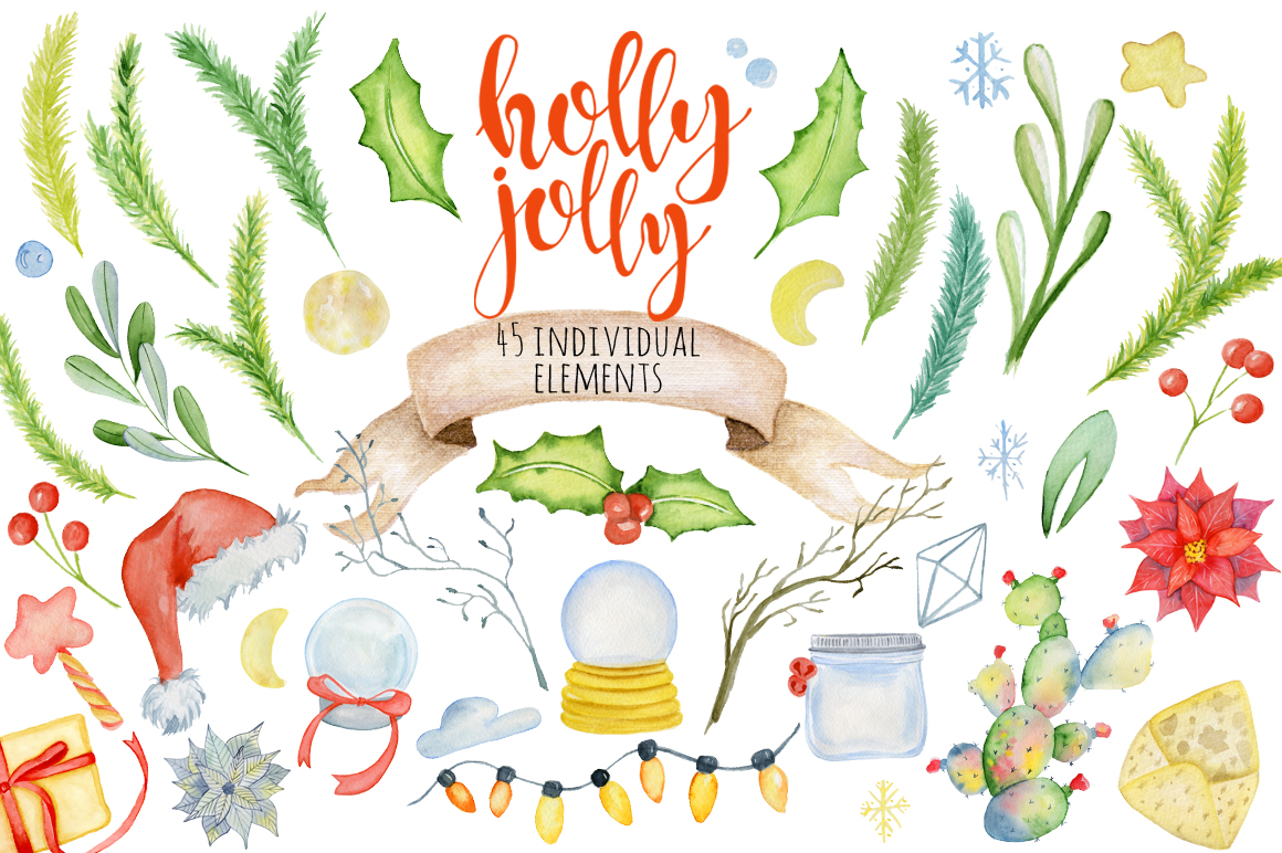 Christmas floral watercolor clipart Holly Jolly example image 2