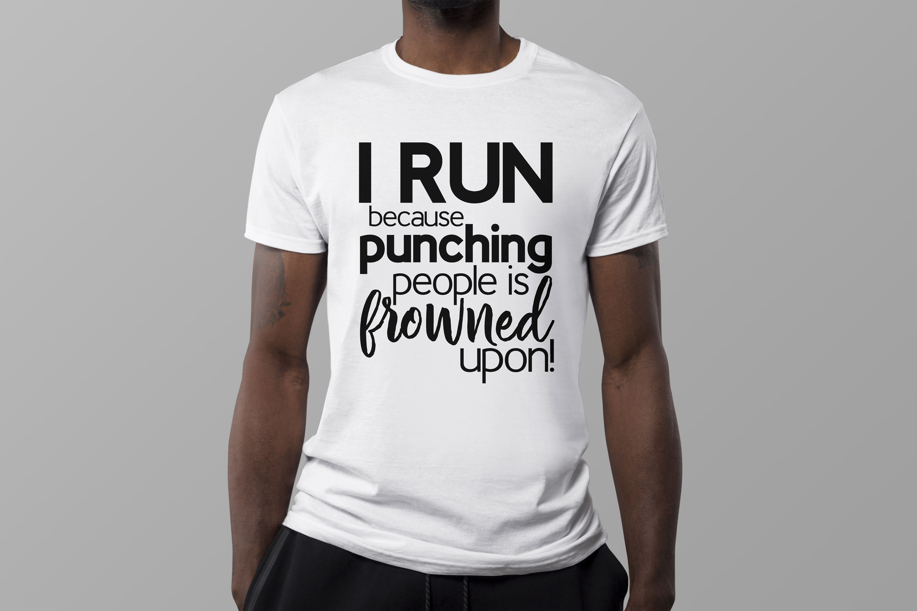 I run because punching people is frowned upon! exercise SVG example image 1