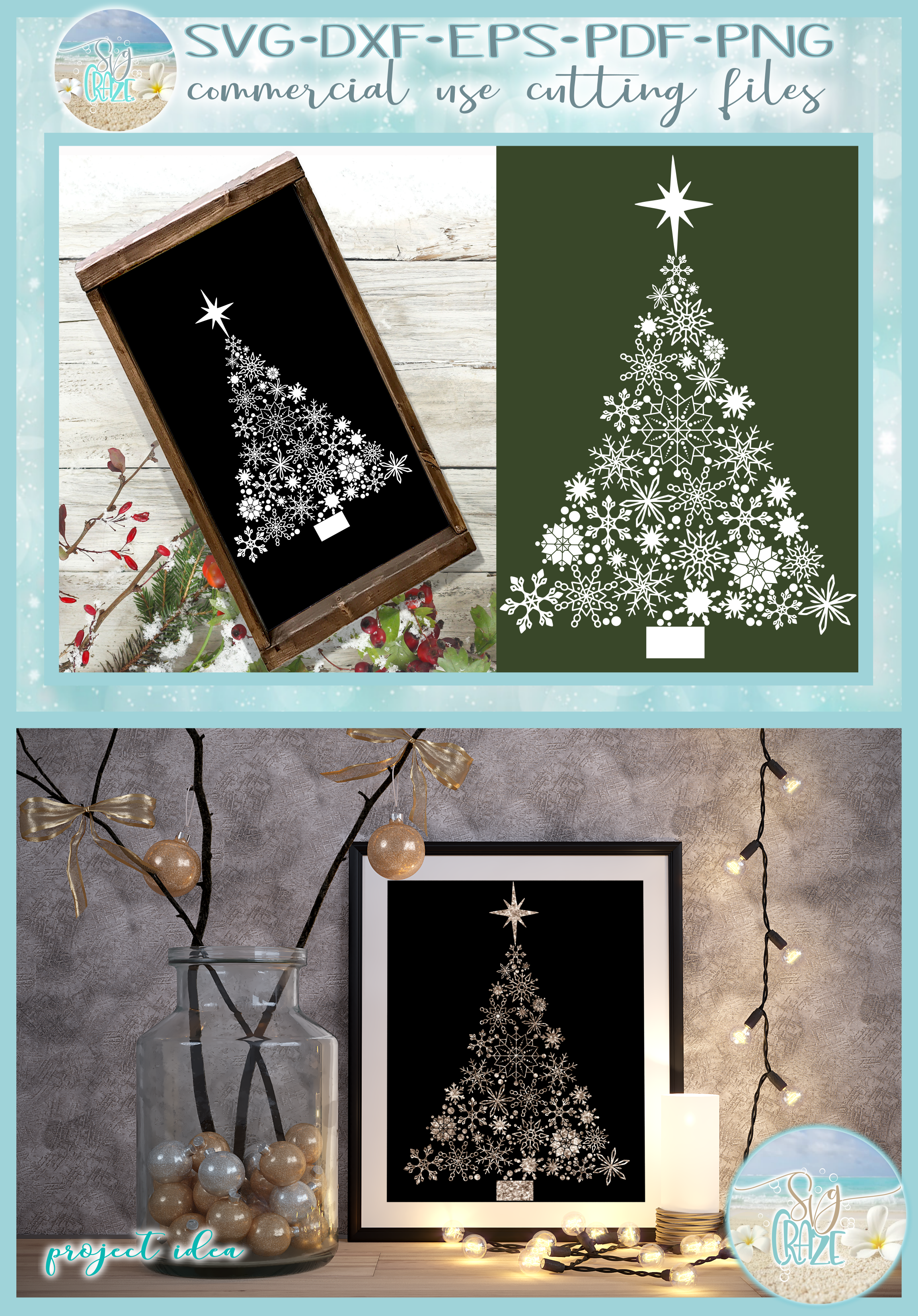 Snowflake Christmas Tree with Star SVG example image 4