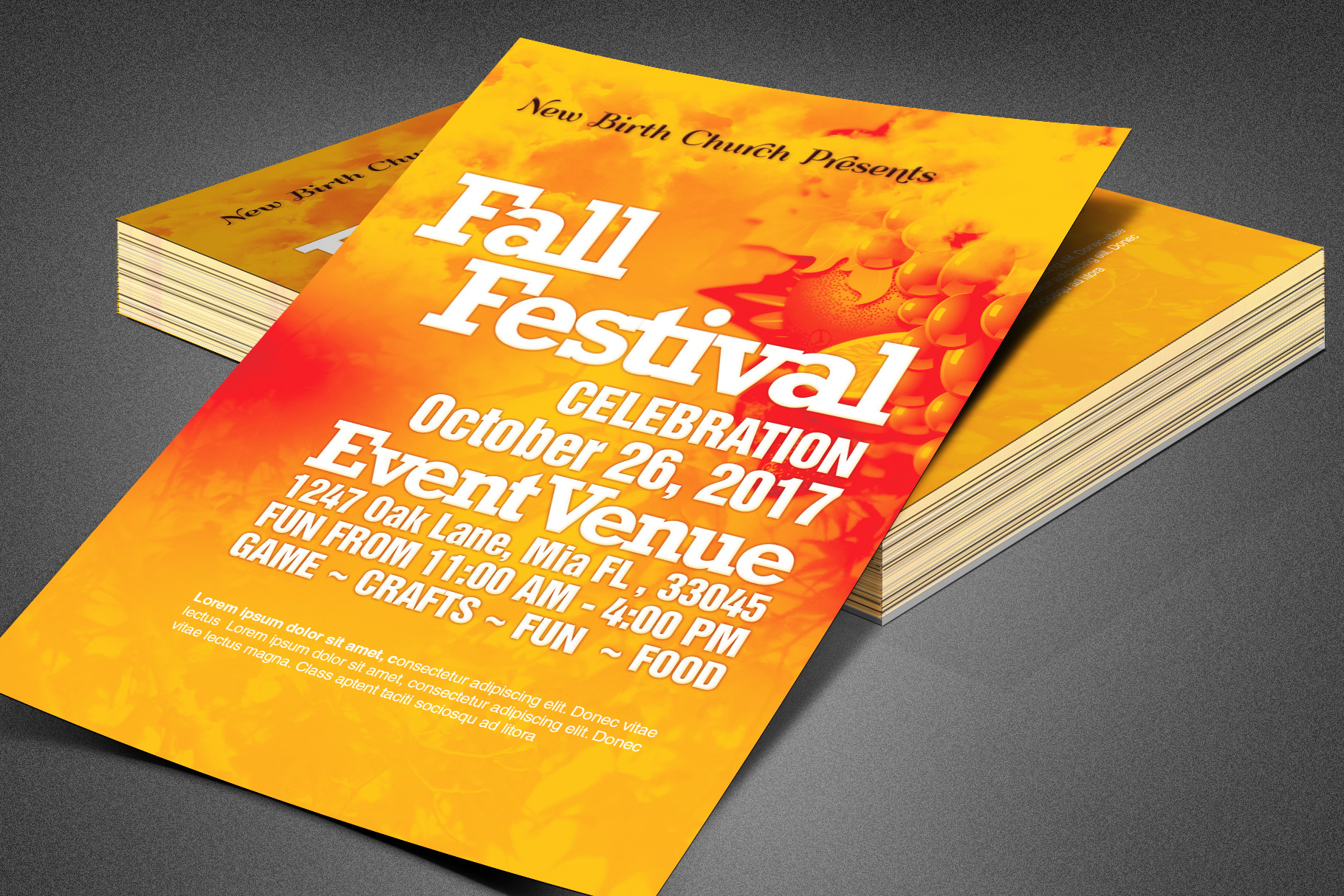 Fall Festival Church Flyer Template example image 1