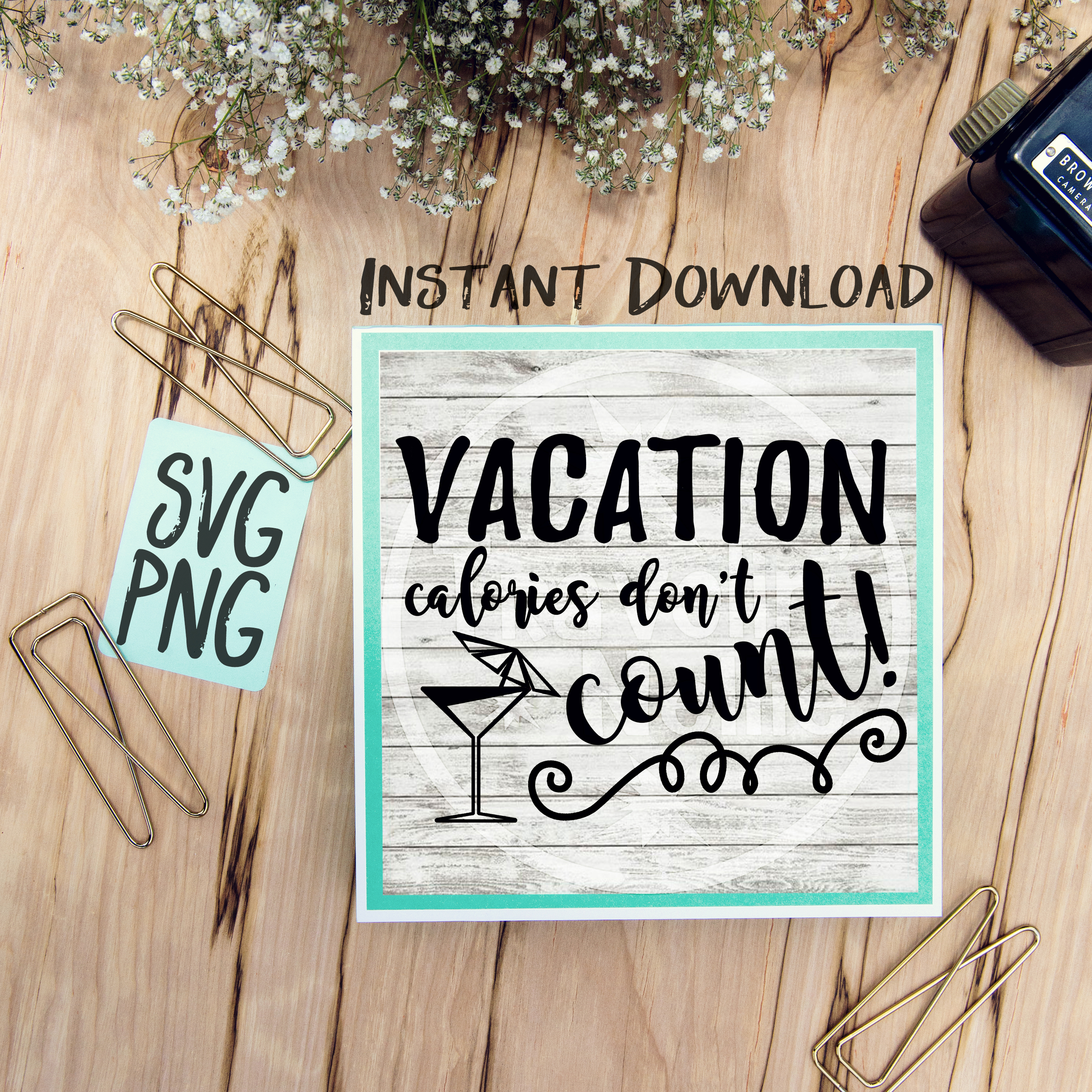 Vacation Calories Don't Count SVG Image Design for Vinyl Cutters Print DIY Shirt Design Cruise Vacation Anchor Brother Cricut Cameo Cutout example image 1