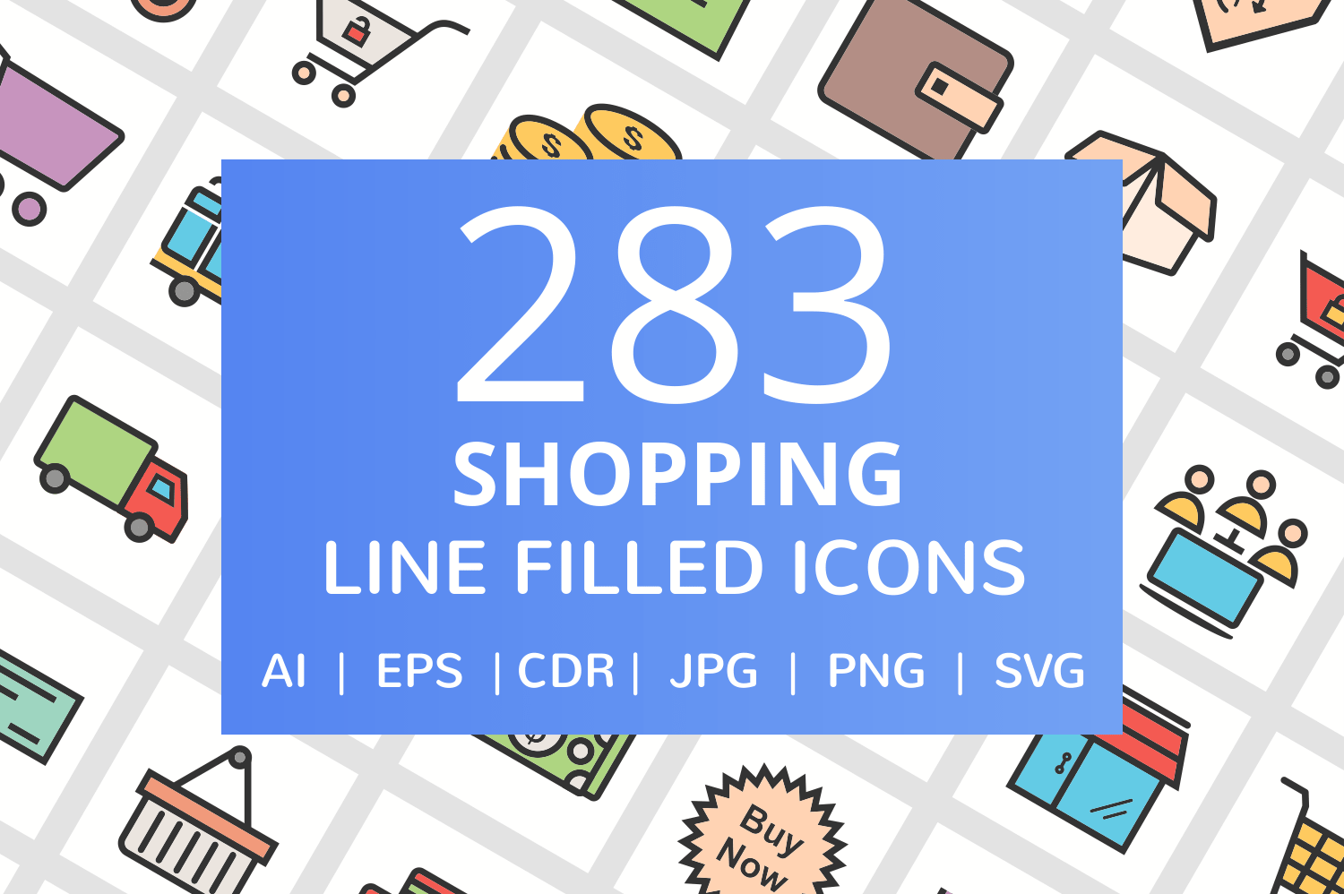 283 Shopping Filled Line Icons example image 1