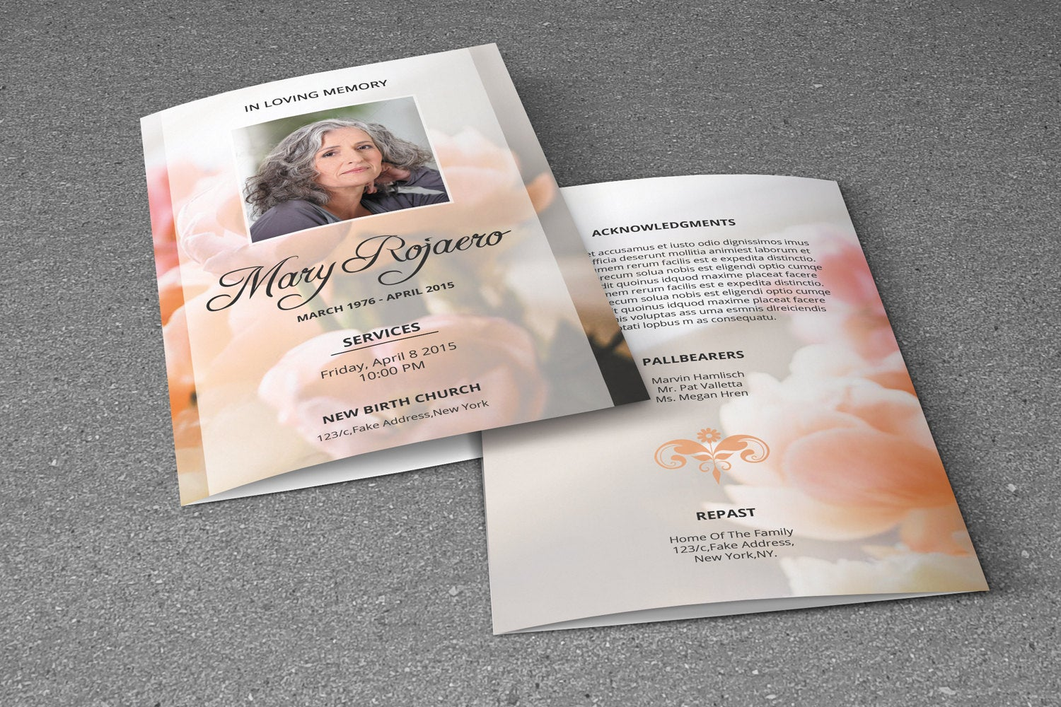 Floral Funeral Program Template, Photoshop & MsWord Template example image 3
