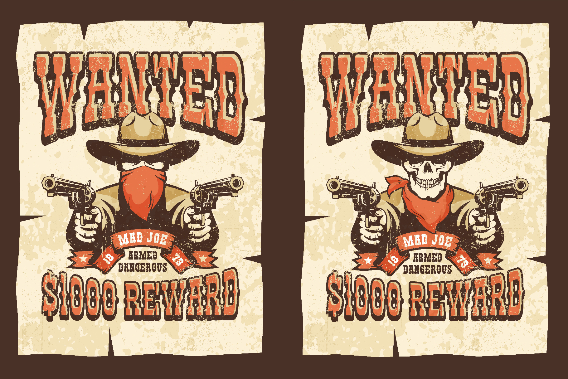 Wanted Wild West Cowboy 3 Posters example image 2
