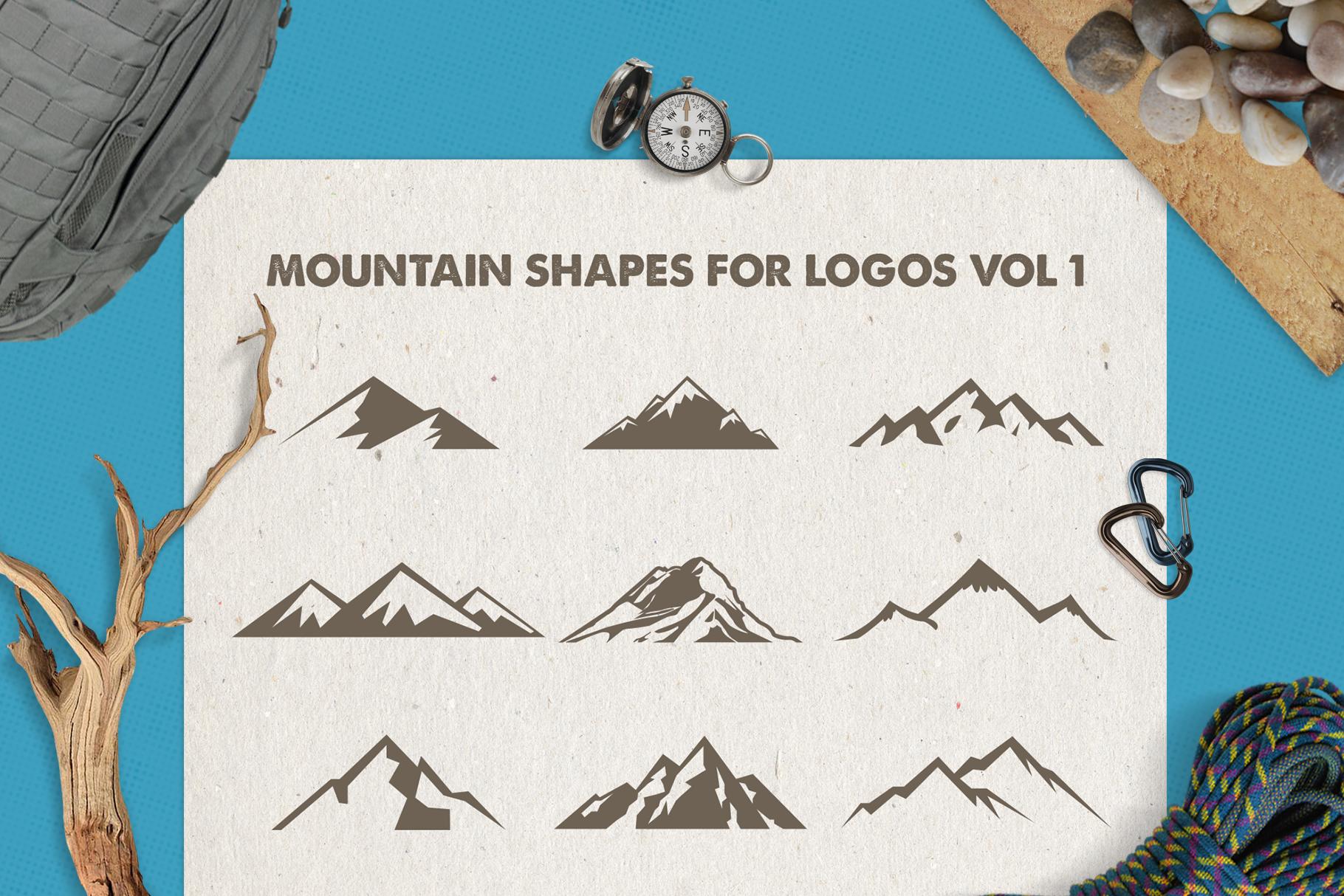 Mountain Shapes Bundle / Mountain Silhouette / Mountain SVG example image 2