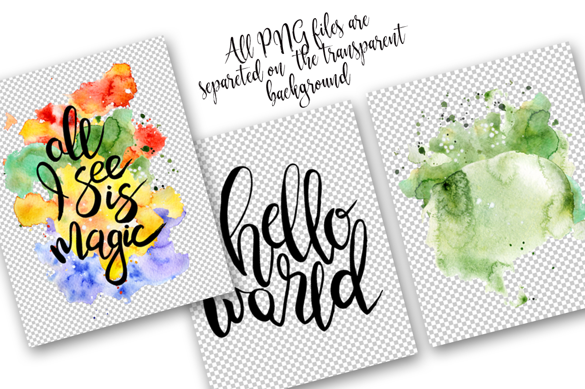 Hand drawn watercolor Inspirational quotes DIY pack example image 11