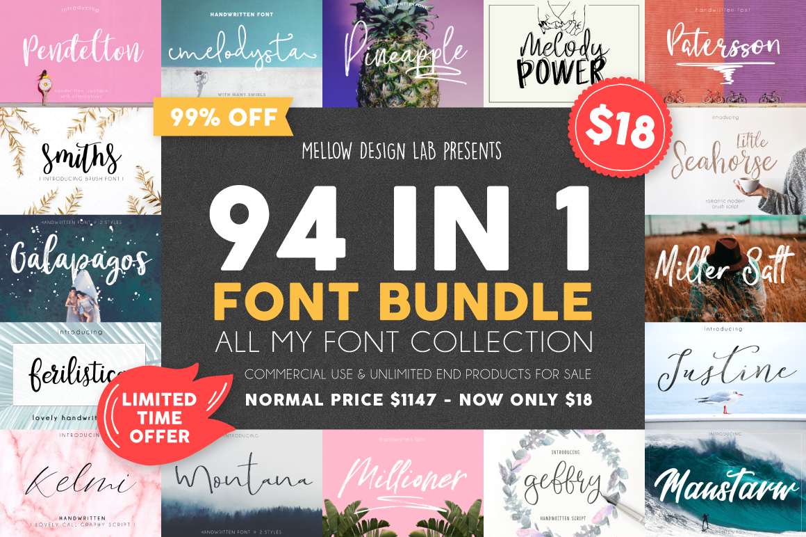 94 IN 1 Font Bundle SALE example image 1