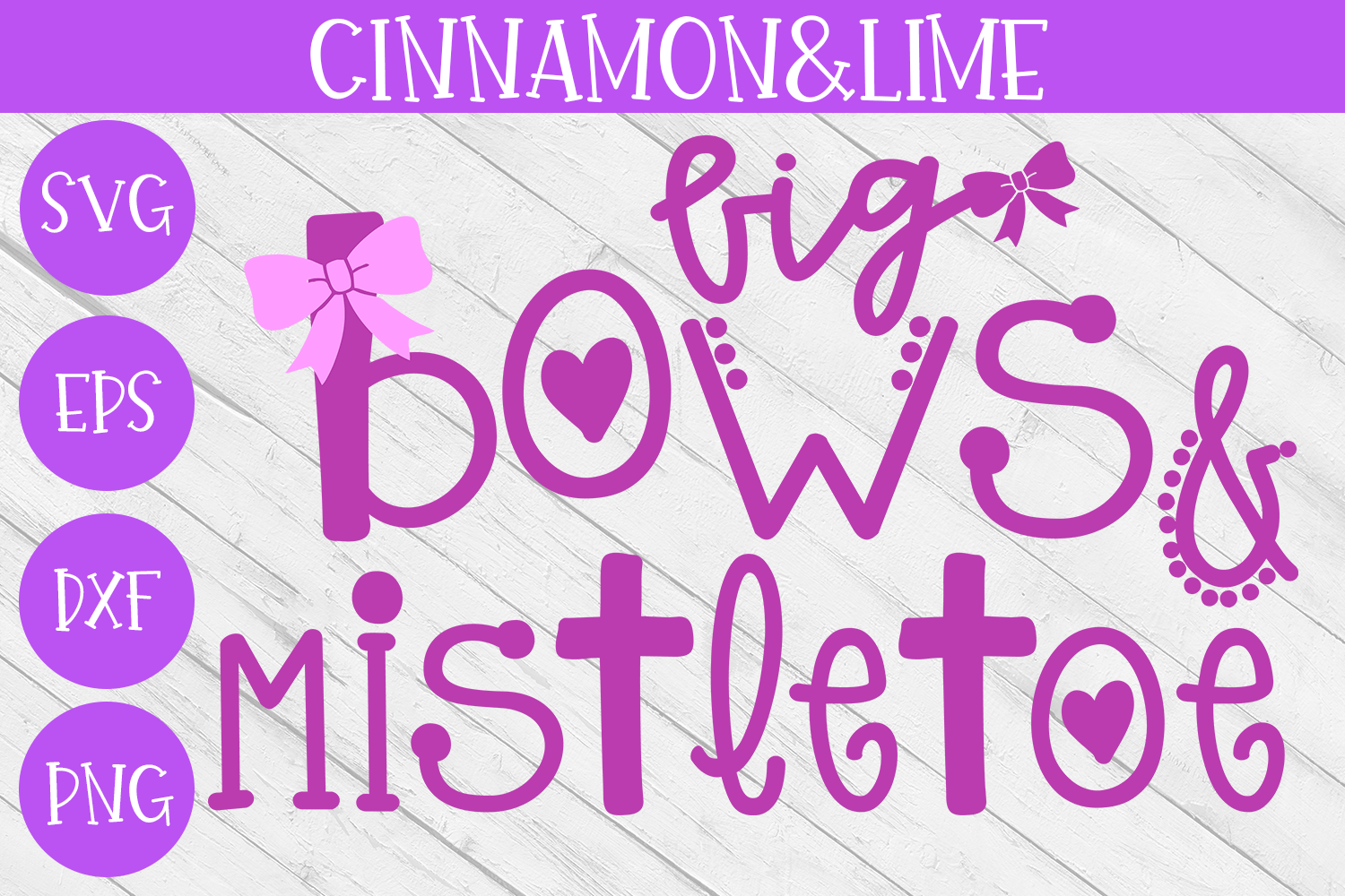 Christmas Svg - Big Bows and Mistletoe Girl Cut File example image 1