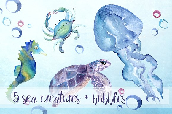 Watercolor Sea Creatures Clipart Set example image 2