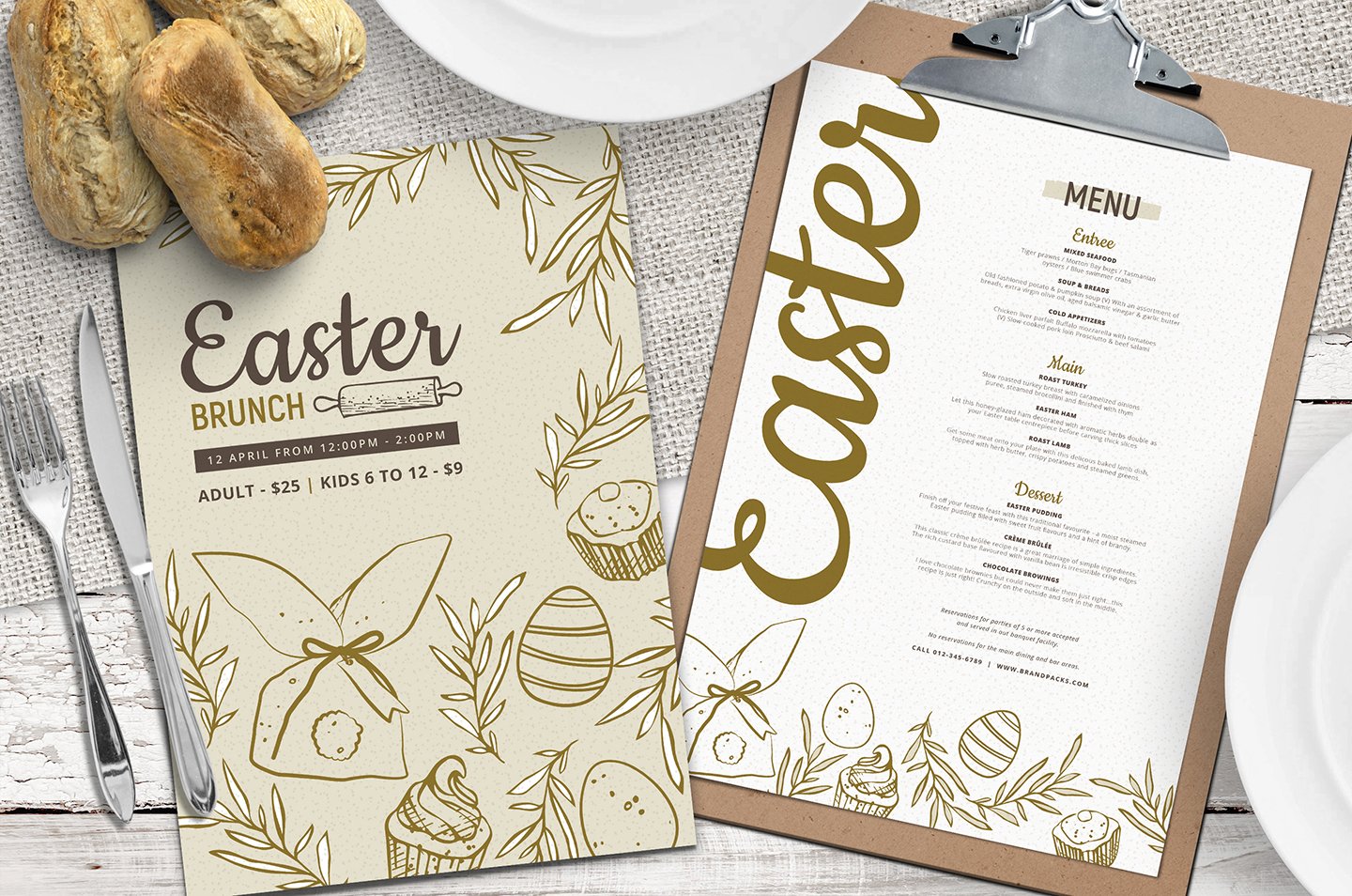 Printable elegant easter brunch invitations template.
