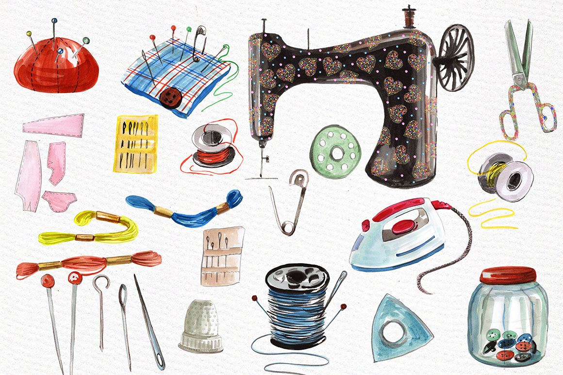 Watercolor sewing set clipart example image 2