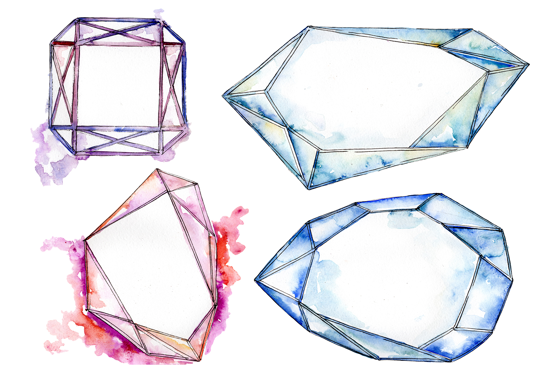 Crystals fine red and blue Watercolor png example image 1