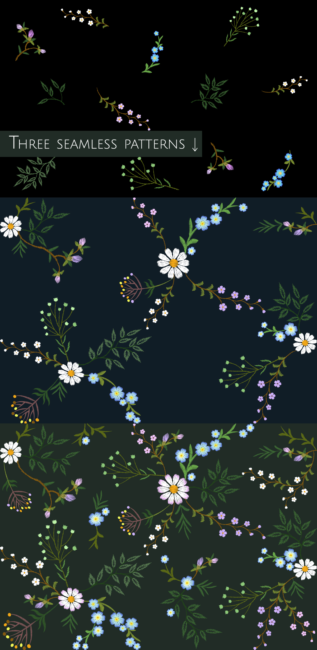 Tiny Flowers Vector Embroidery Print example image 5
