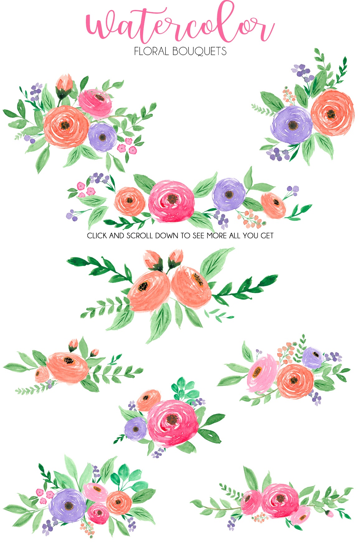 Watercolor fresh spring floral vol.2 example image 2