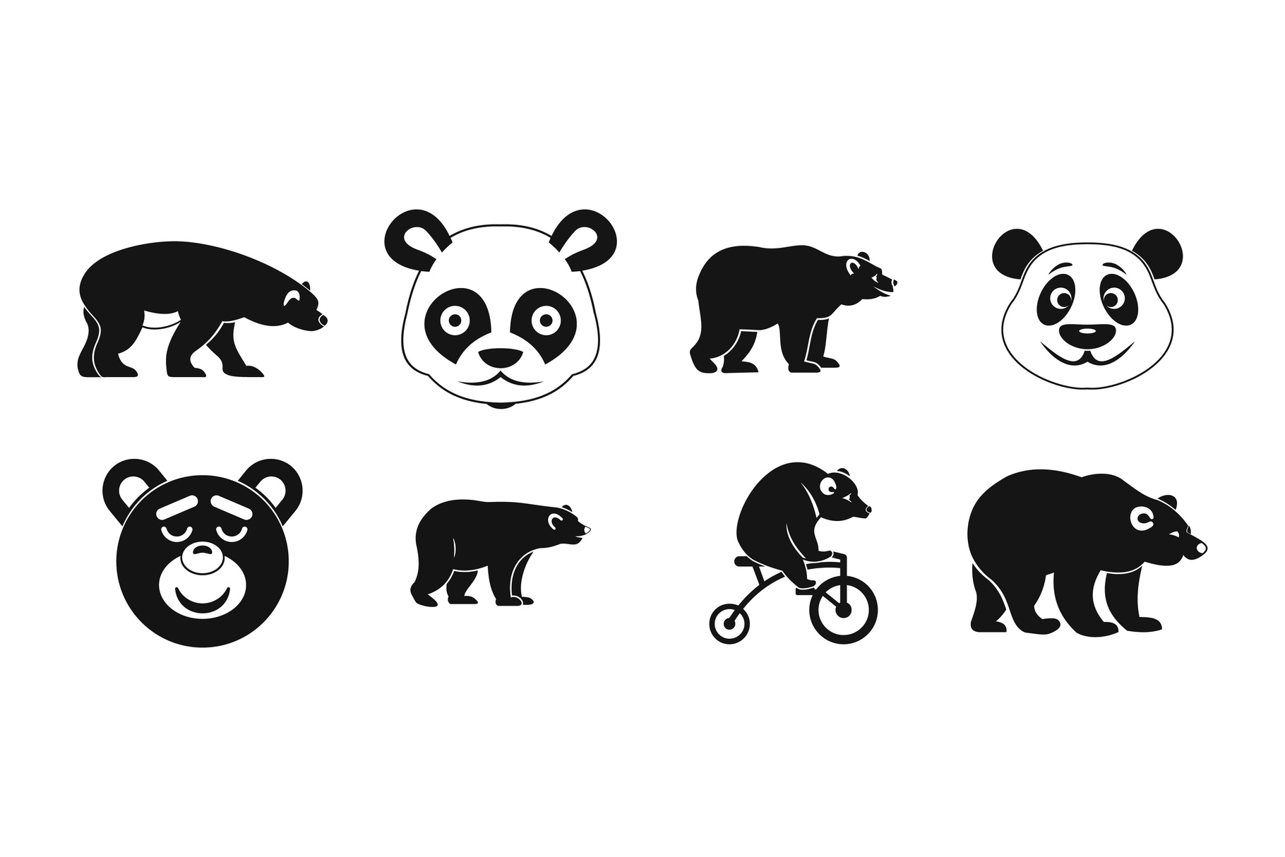 Bear icon set, simple style example image 1