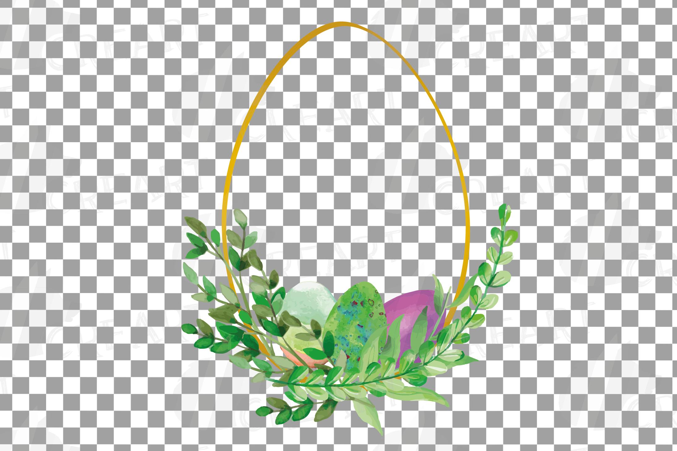 Easter golden watercolor floral frames, floral frames example image 9