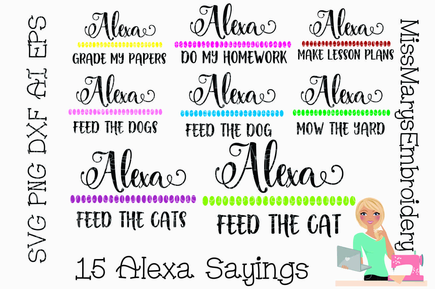 15 Alexa Sayings Bundle SVG Cutting File PNG DXF AI EPS example image 2