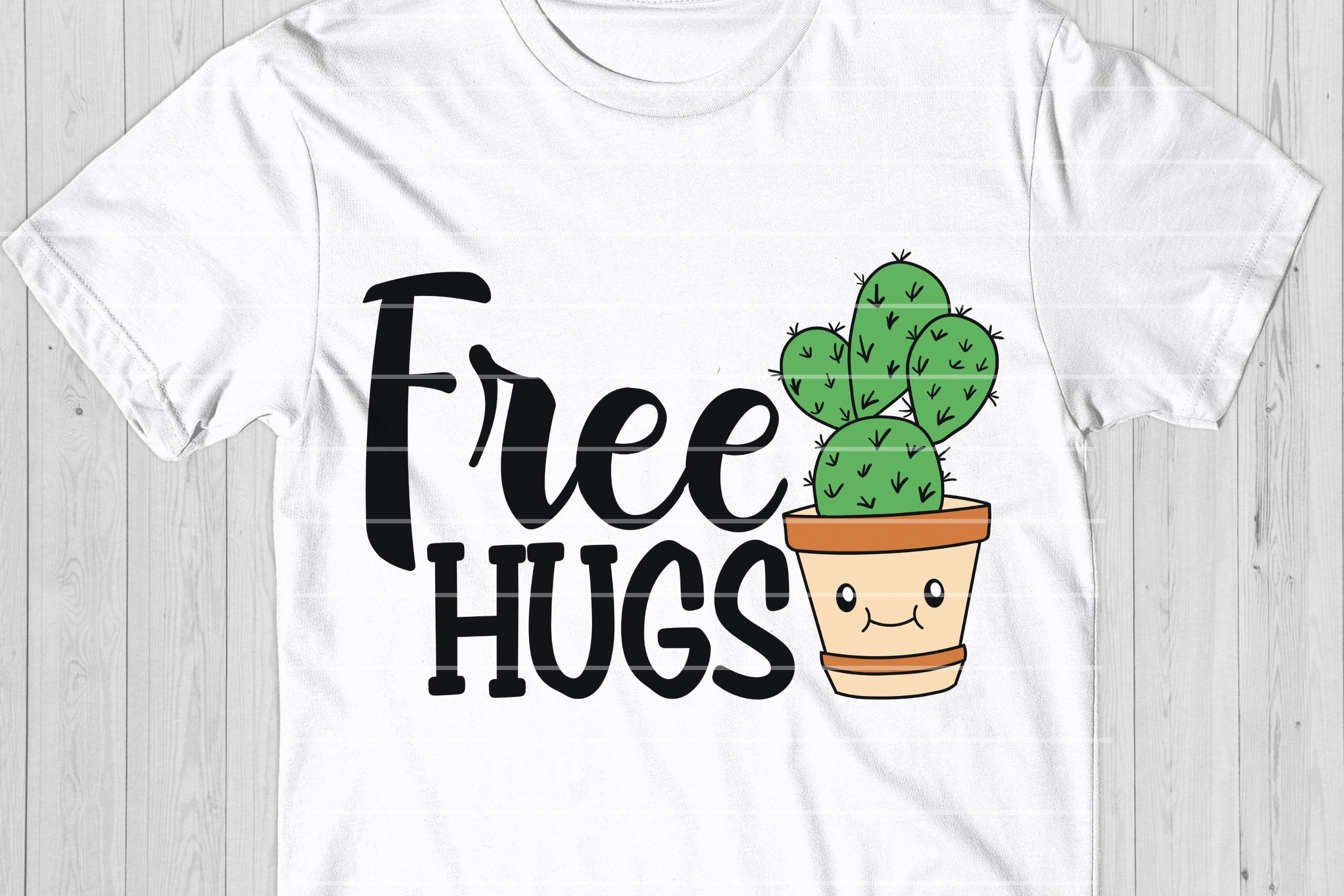 Free Hugs Cactus SVG Cut File example image 1