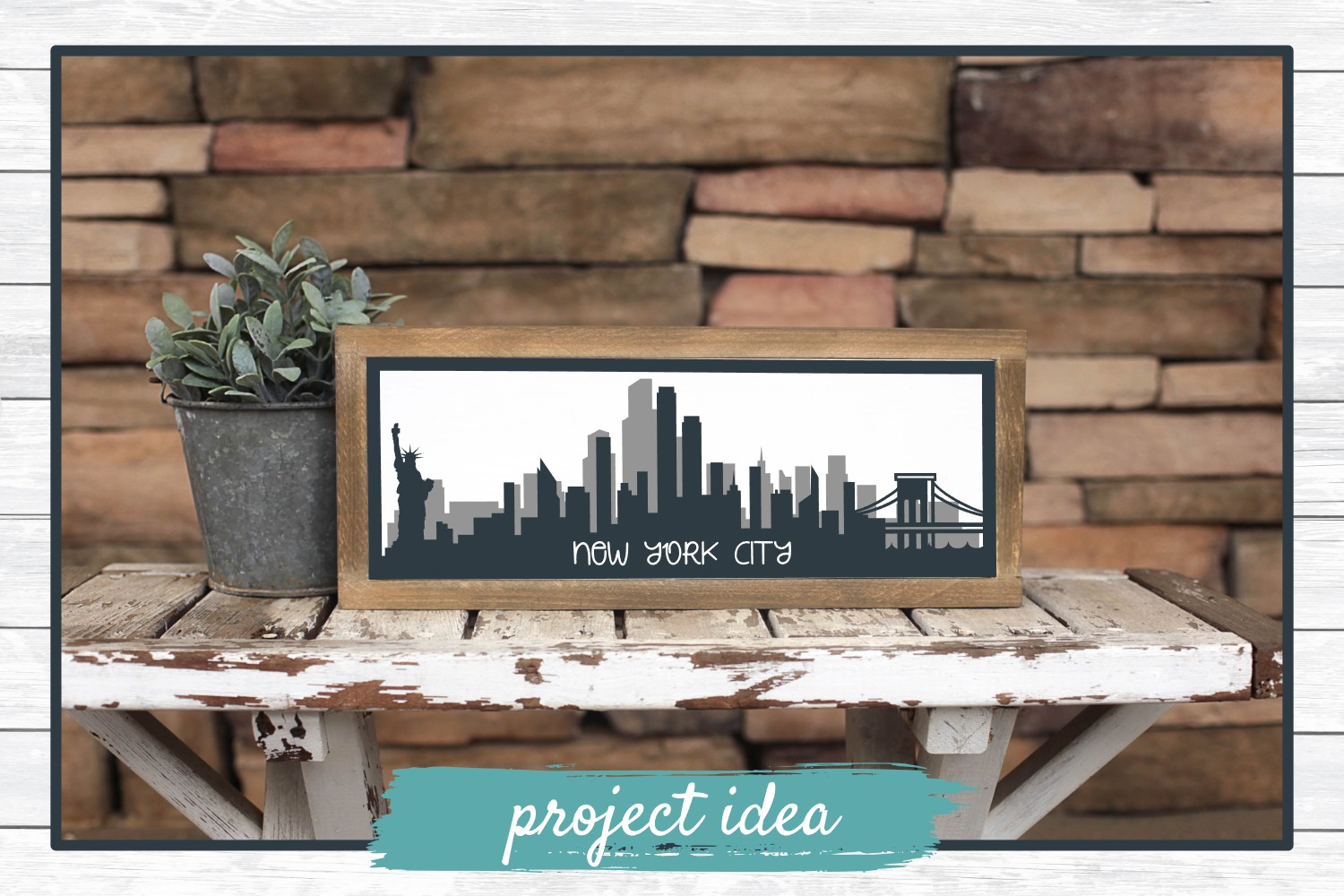 New York City Layered Skyline SVG Cut File for Crafters example image 2