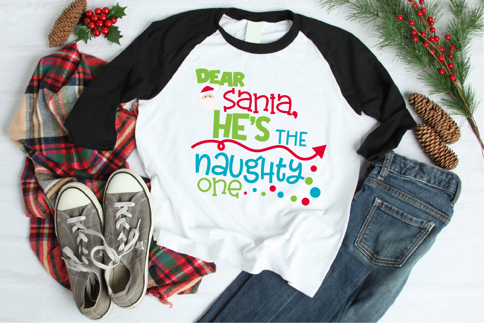 Naughty List, Dear Santa He's The Naughty One SVG, Christmas example image 1
