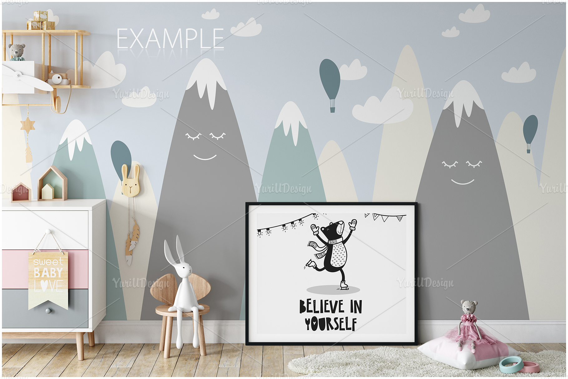 Kids Frames & Wall Mockup Bundle - 5 example image 26
