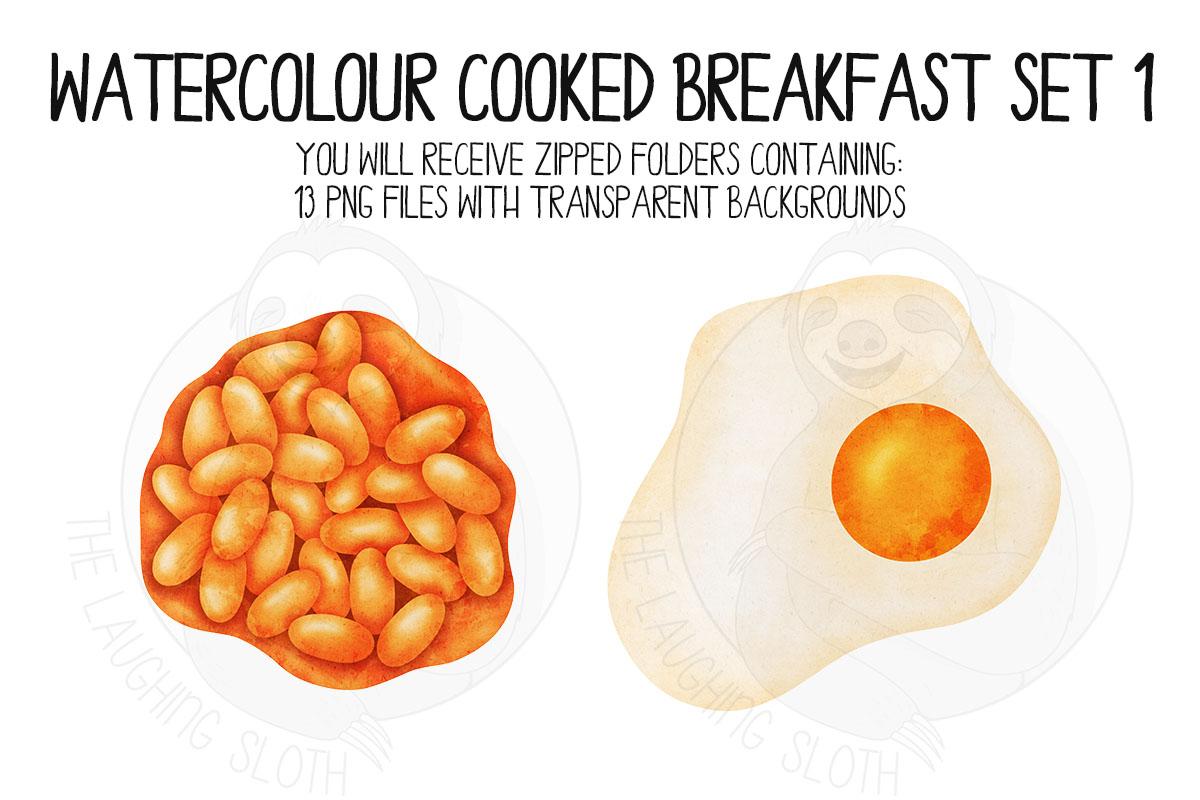 Watercolor Cooked Breakfast Clip Art Set example image 6