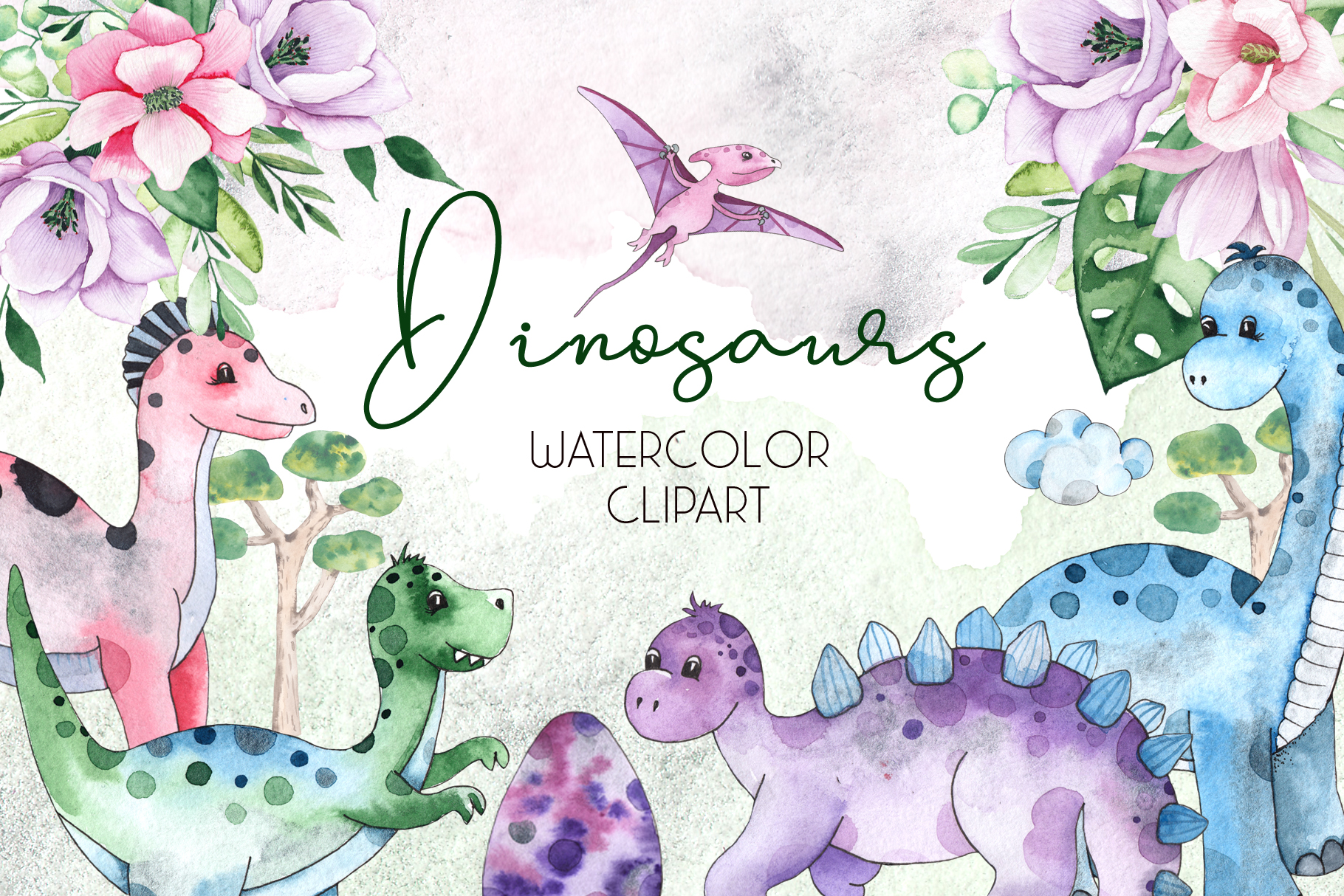 Dinosaurs. Watercolor clipart example image 1