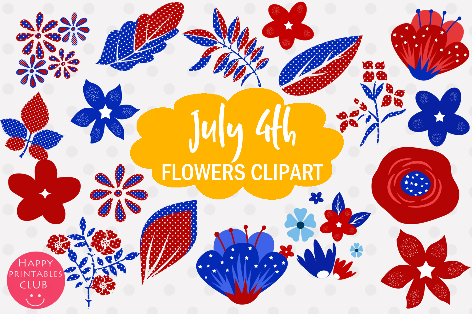 4th July Flowers Clipart- July 4 Flowers Graphics Clipart example image 1