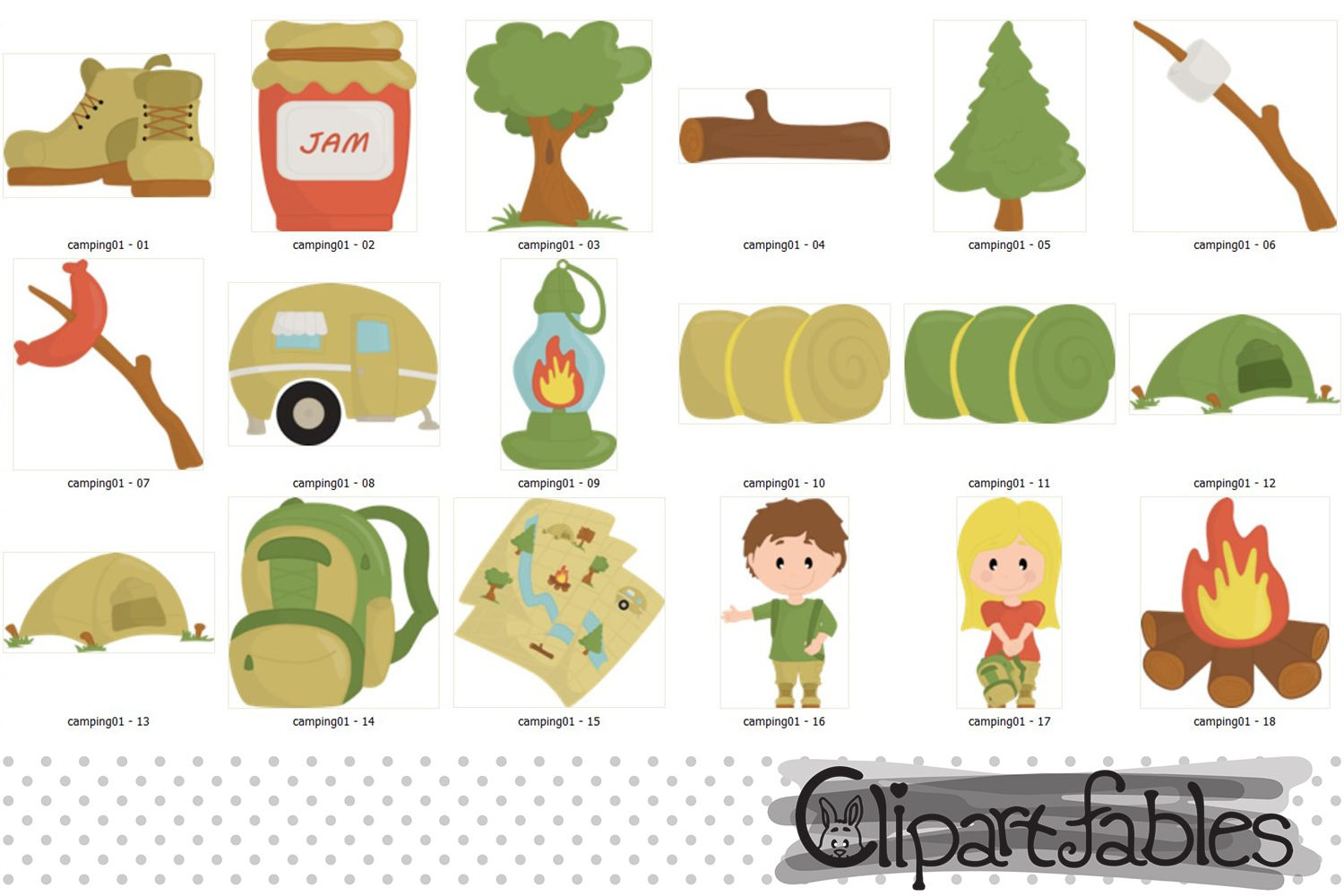 CAMPING clipart, Camp fire art, outdoor - instant download example image 2