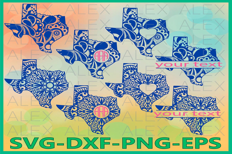 Texas State SVG, Texas Mandala SVG, Zentangle svg example image 1