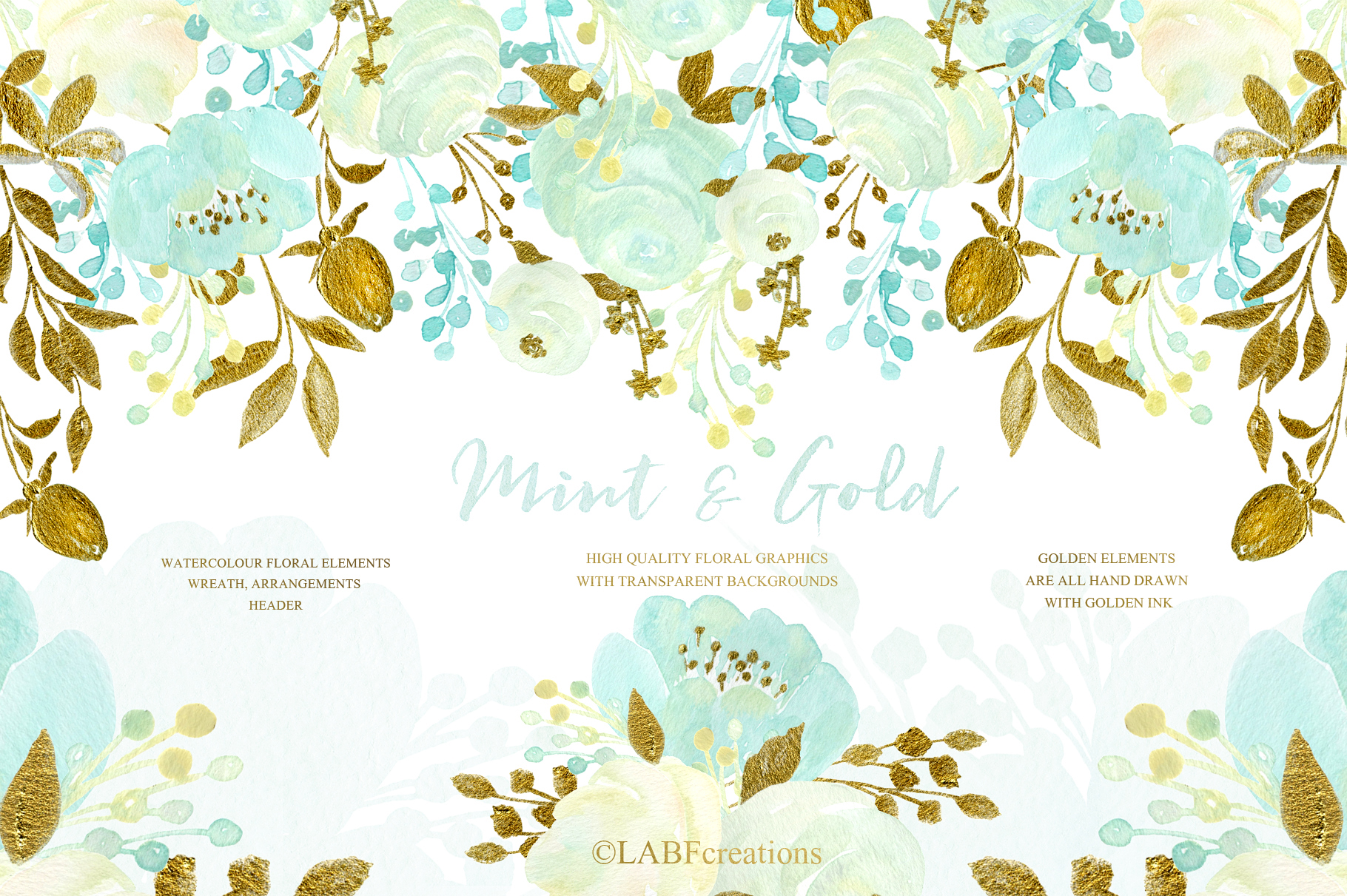 Mint and Gold. Watercolor floral clipart. example image 1