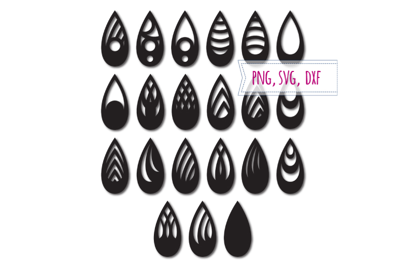 Earrings svg 21 items. Tear drop earrings. Pendant example image 1
