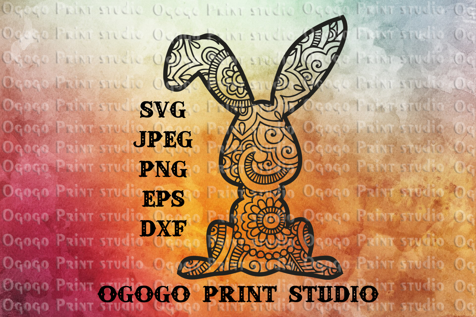 Bunny svg, Easter svg, Rabbit svg, Mandala svg,Zentangle svg example image 1
