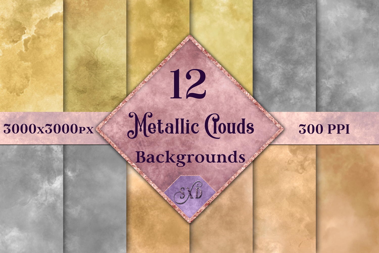 Metallic Clouds Backgrounds - 12 Image Set example image 1