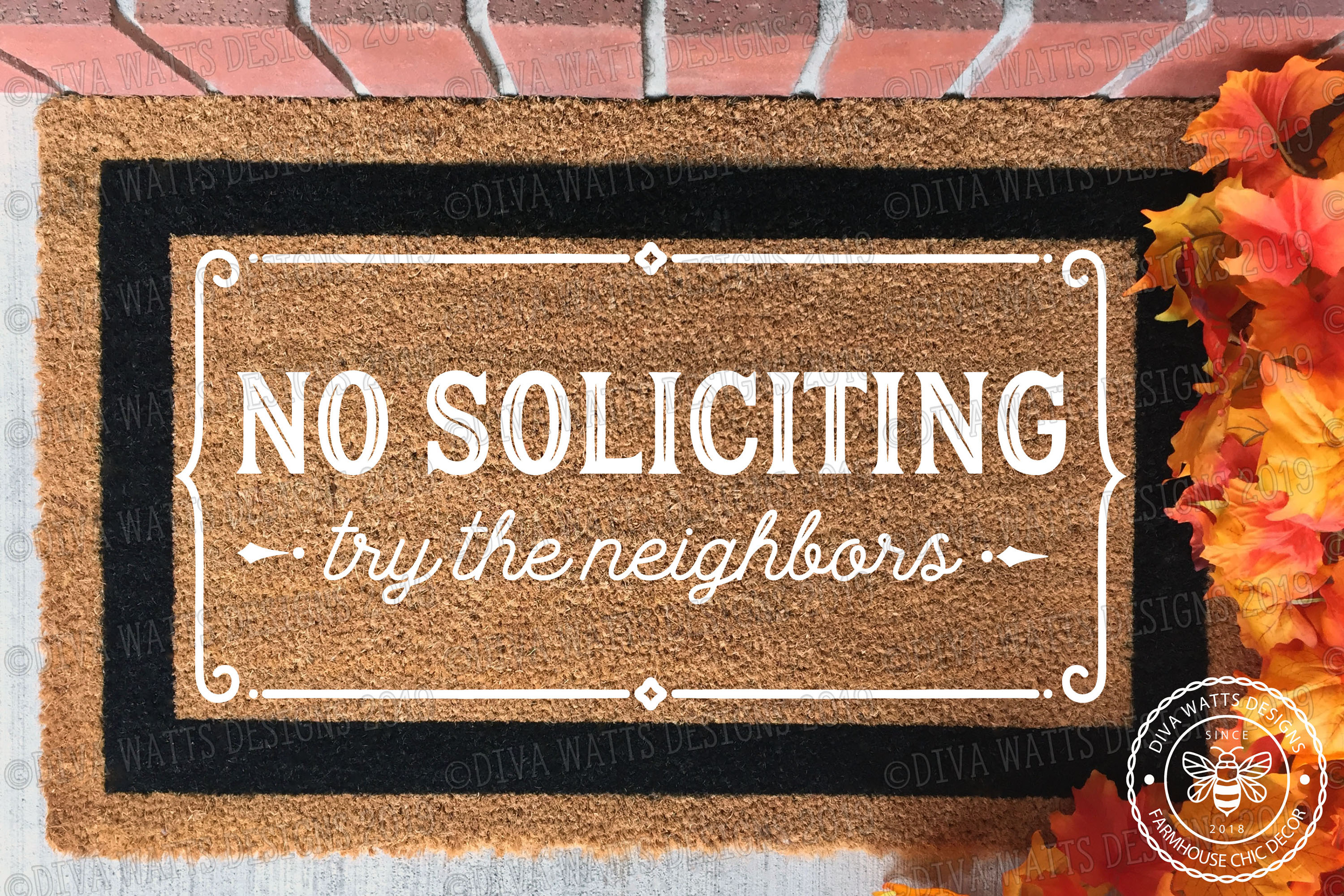 No Soliciting Try The Neighbors Cutting File Farmhouse Style example image 3