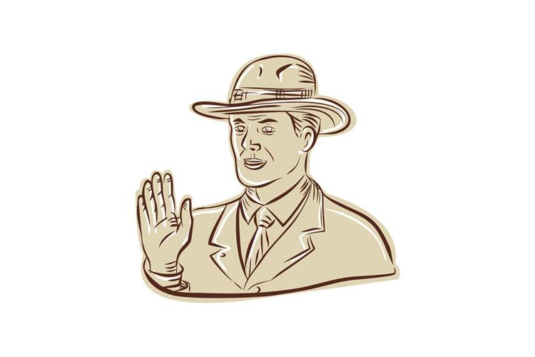 Businessman Fedora Hat Vintage Etching example image 1