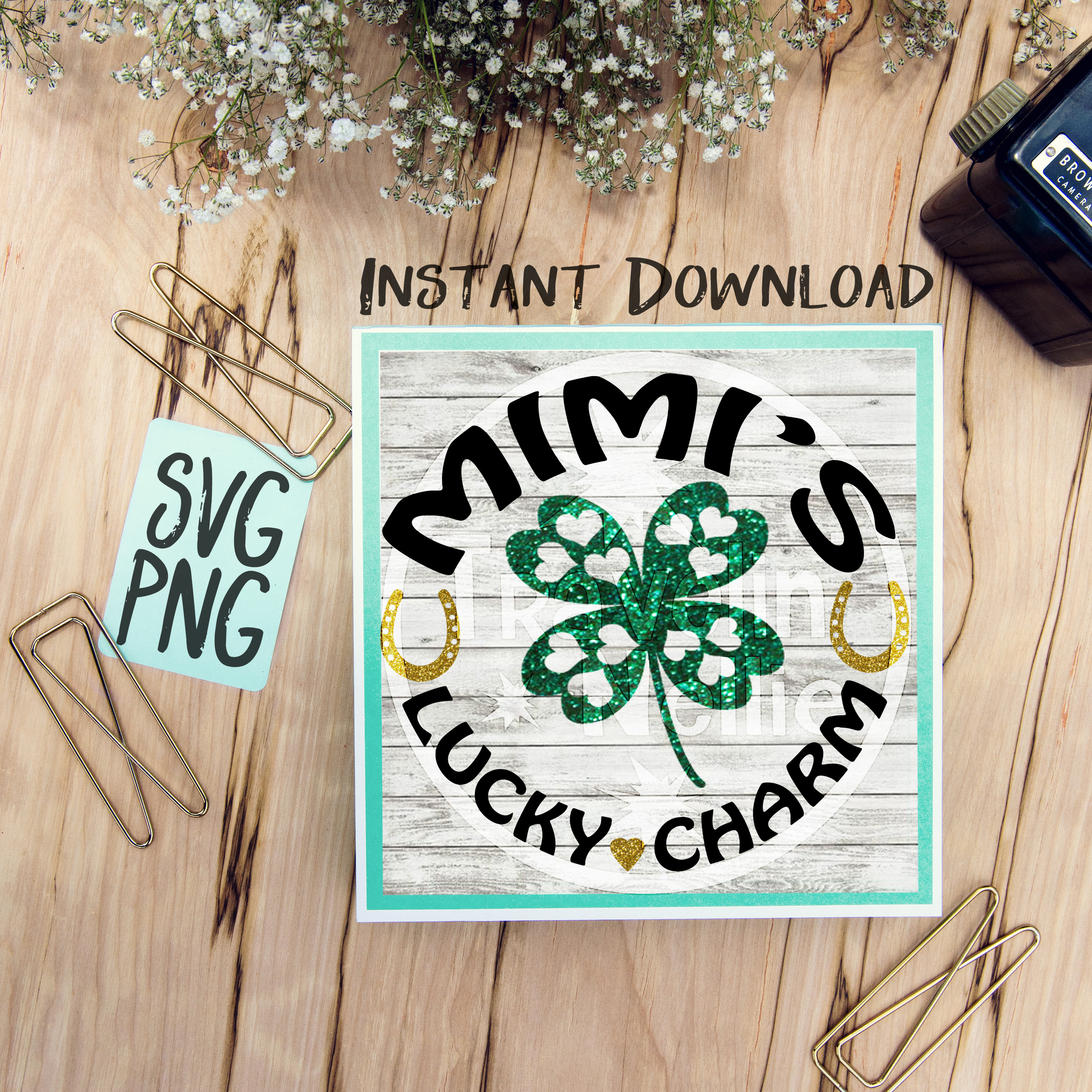 Mimi's Lucky Charm SVG PNG Cricut Cameo Silhouette Brother Scan & Cut Crafters Cutting Files for Vinyl Cutting Sign Making example image 1